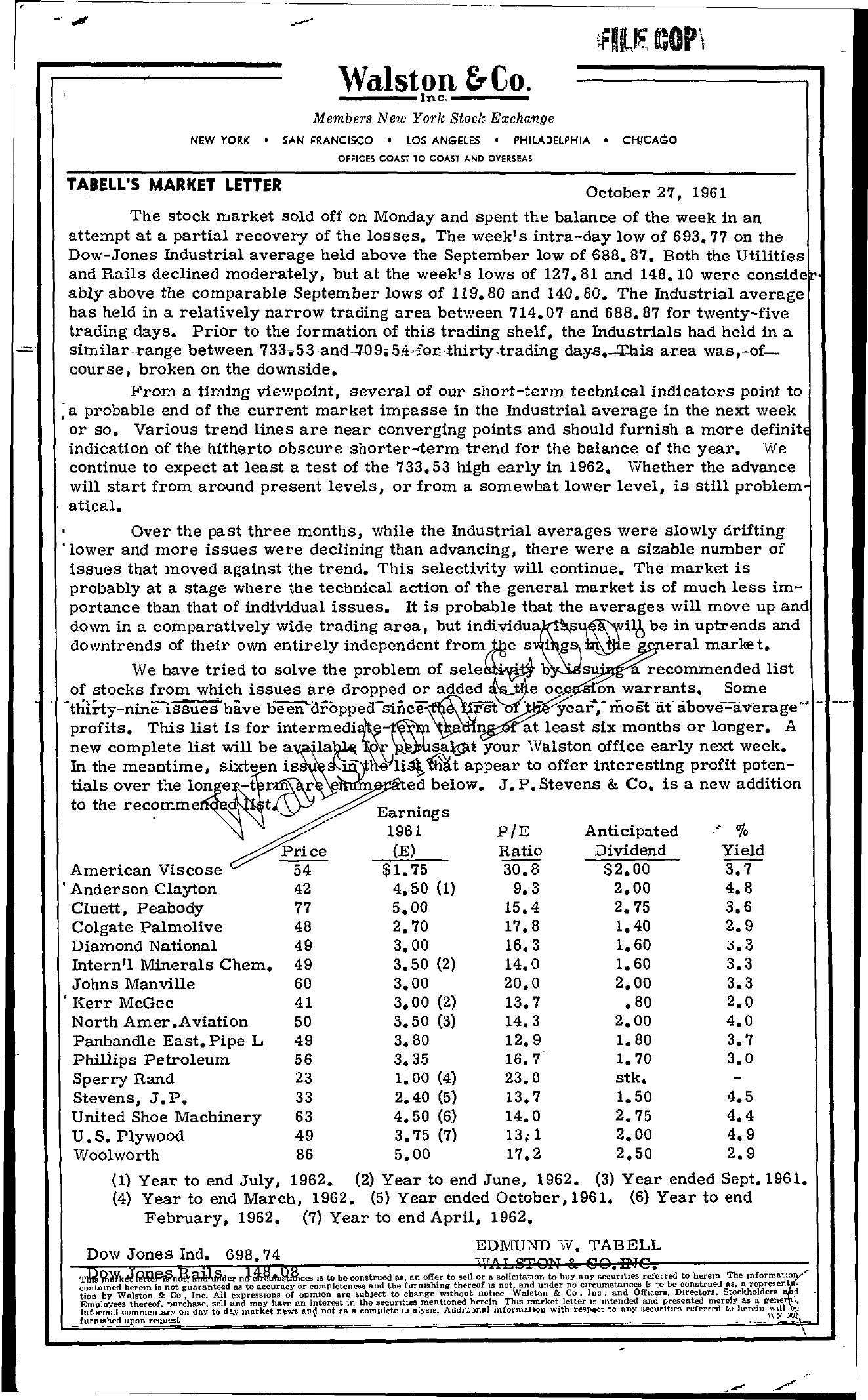 Tabell's Market Letter - October 27, 1961