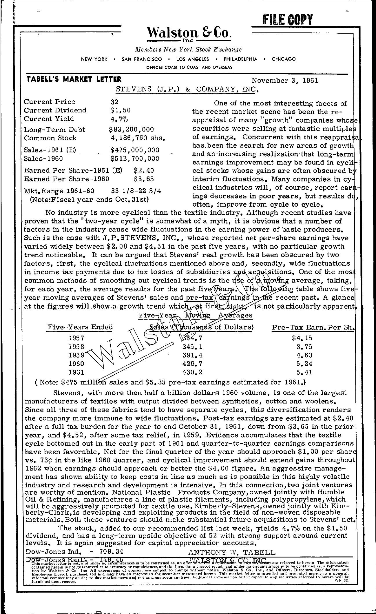 Tabell's Market Letter - November 03, 1961