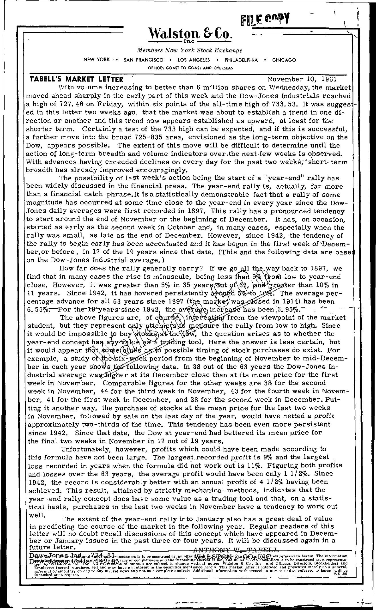 Tabell's Market Letter - November 10, 1961