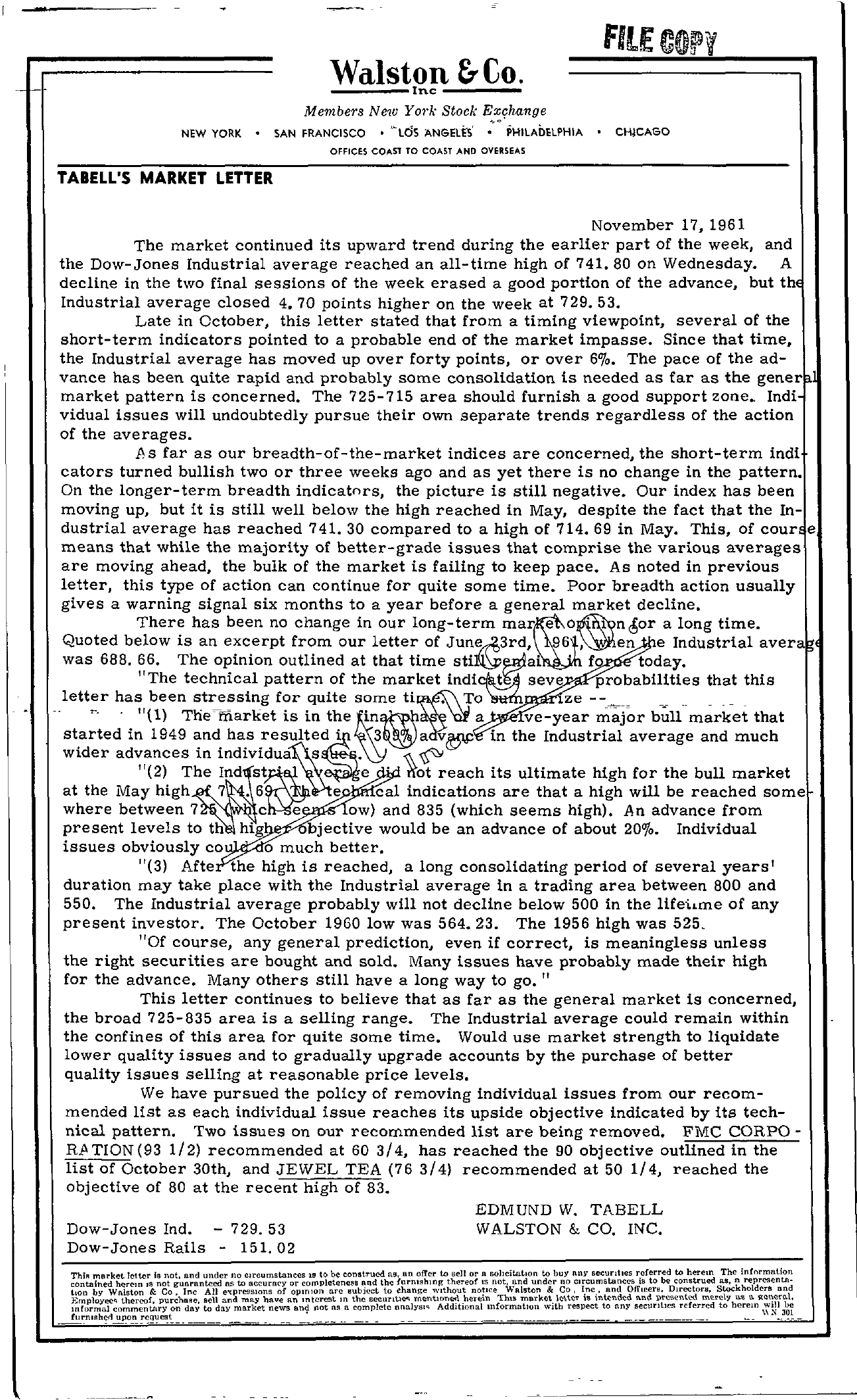 Tabell's Market Letter - November 17, 1961