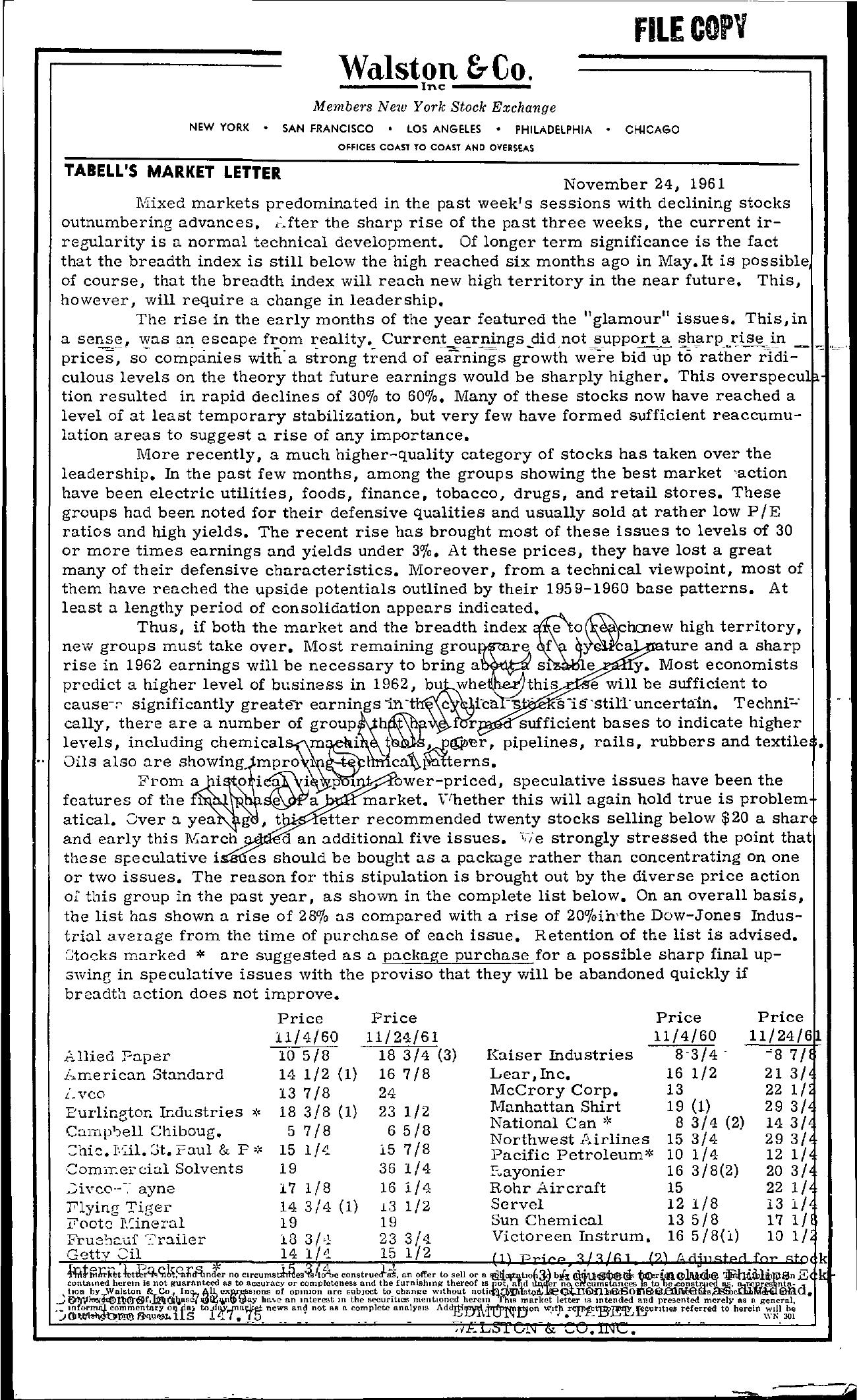 Tabell's Market Letter - November 24, 1961