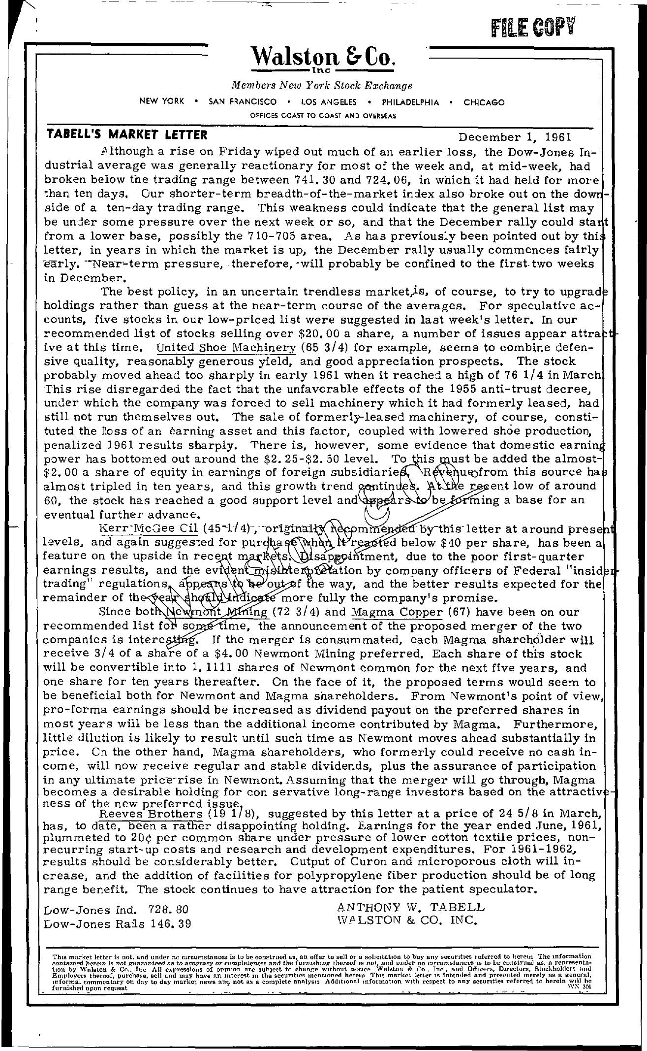 Tabell's Market Letter - December 01, 1961