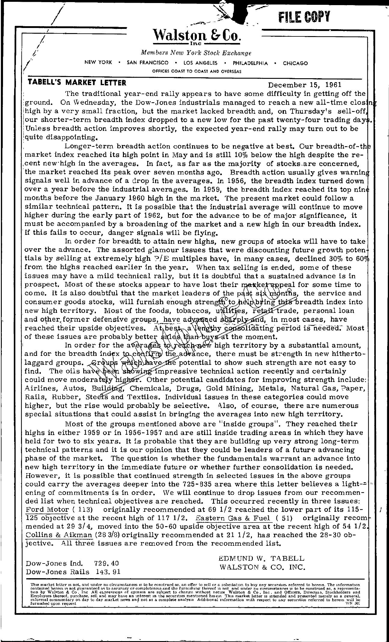 Tabell's Market Letter - December 15, 1961