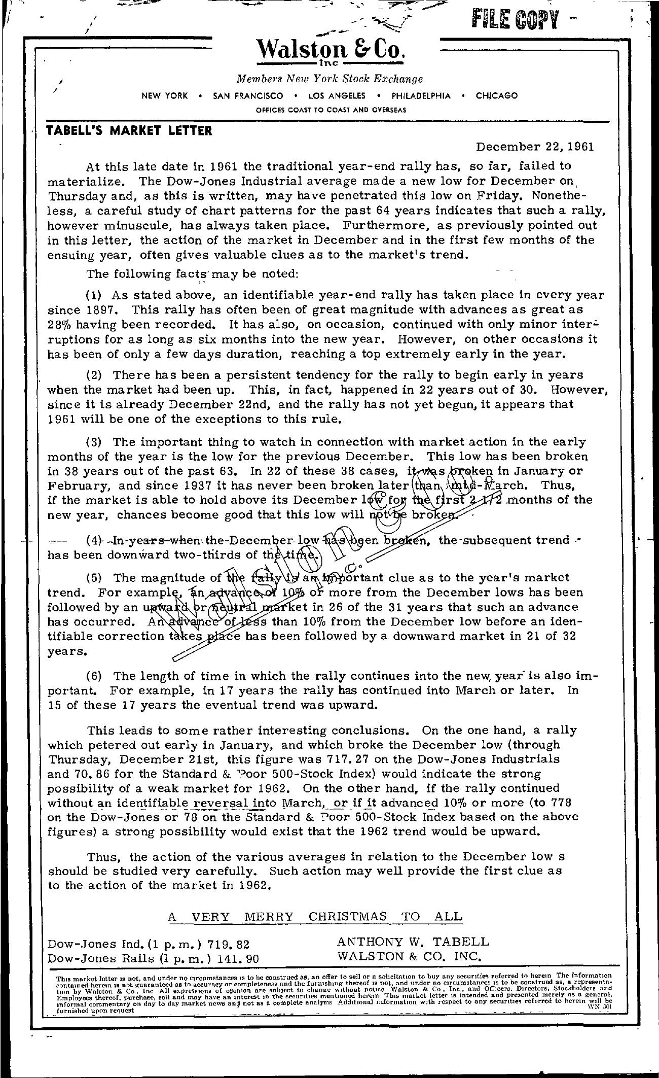 Tabell's Market Letter - December 22, 1961