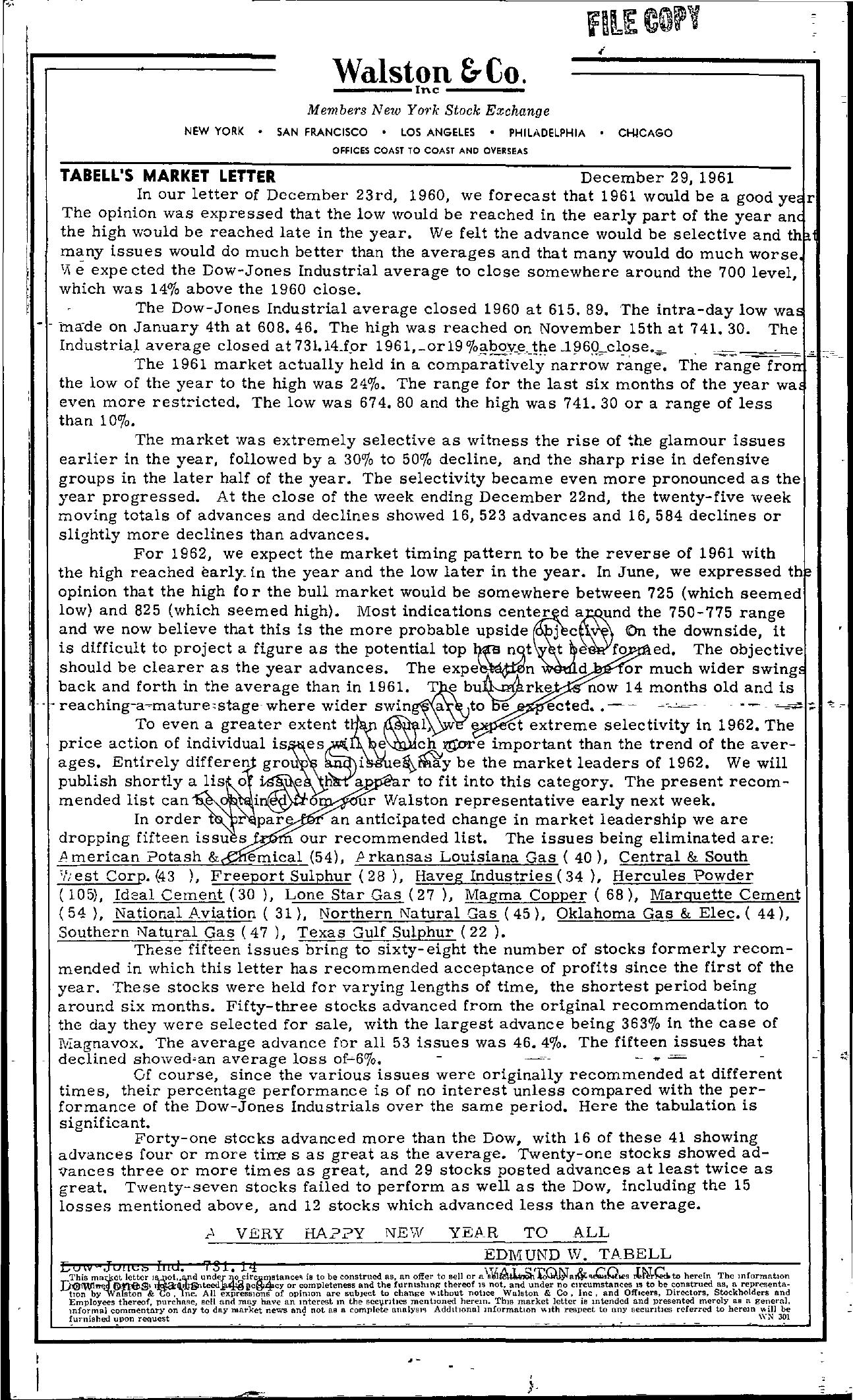 Tabell's Market Letter - December 29, 1961