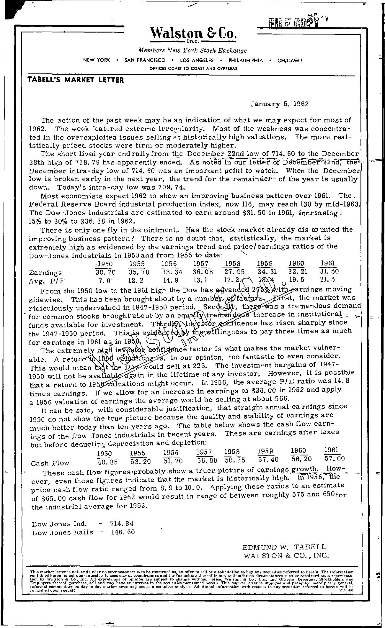 Tabell's Market Letter - January 05, 1962