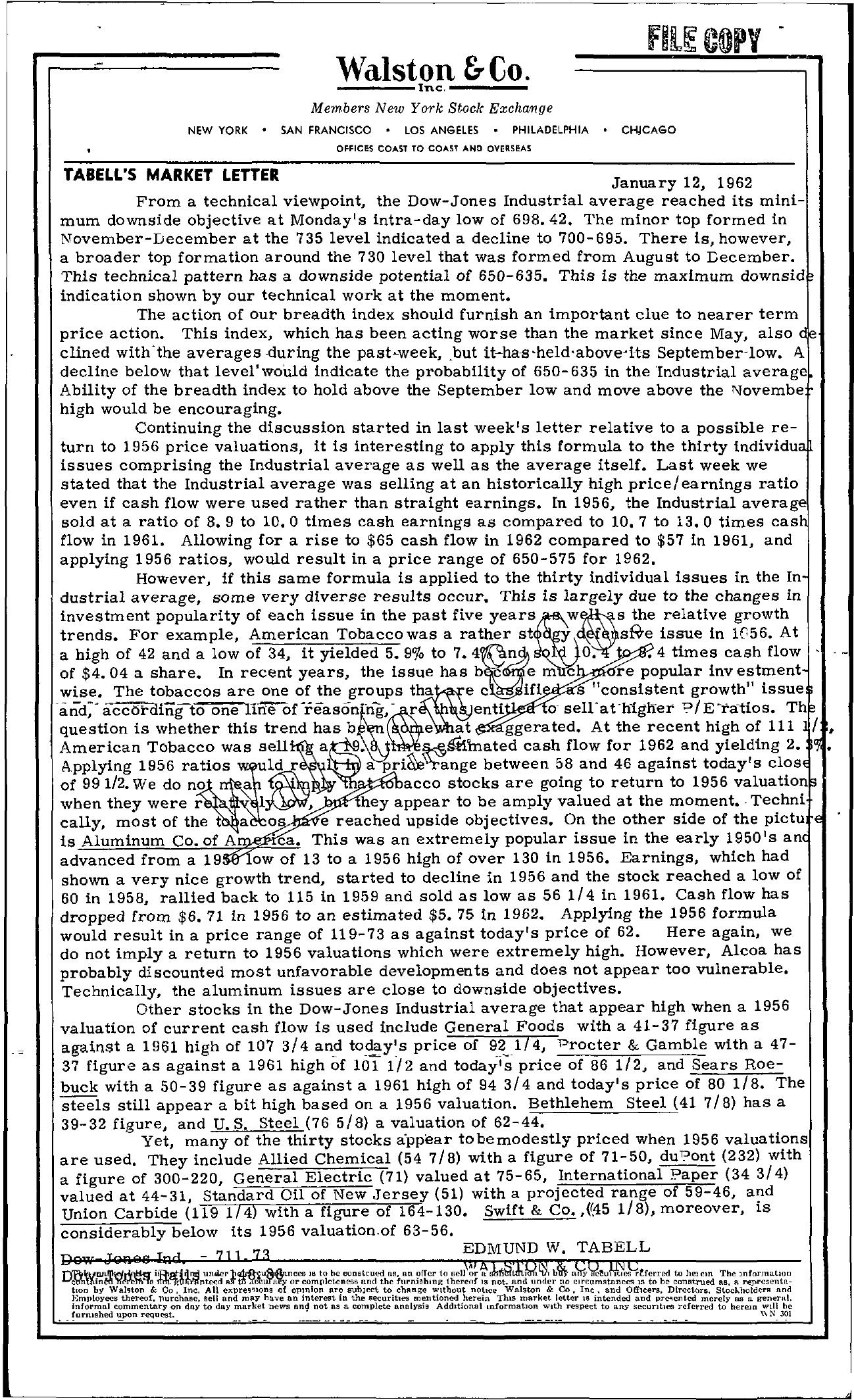 Tabell's Market Letter - January 12, 1962