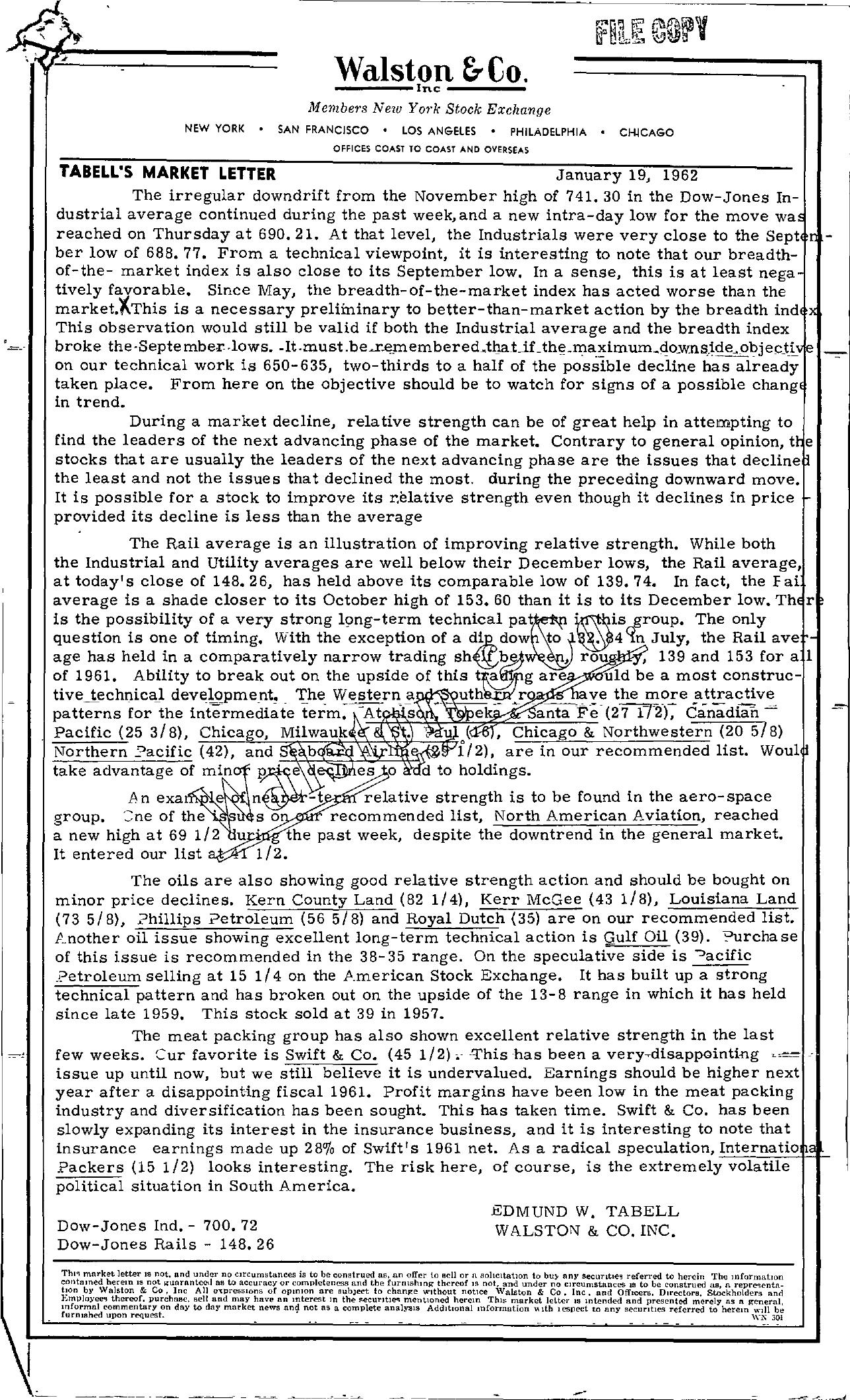 Tabell's Market Letter - January 19, 1962