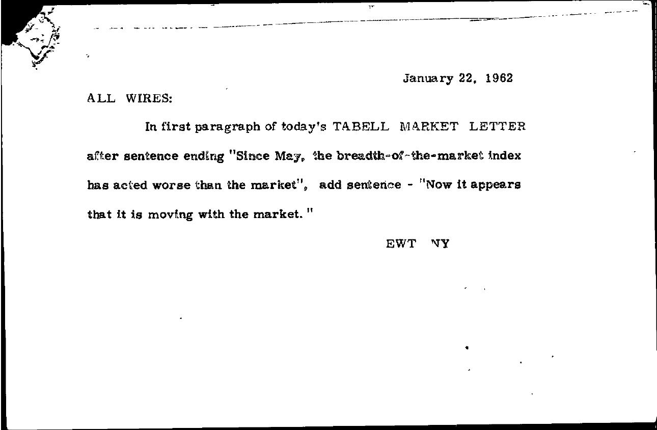 Tabell's Market Letter - January 22, 1962