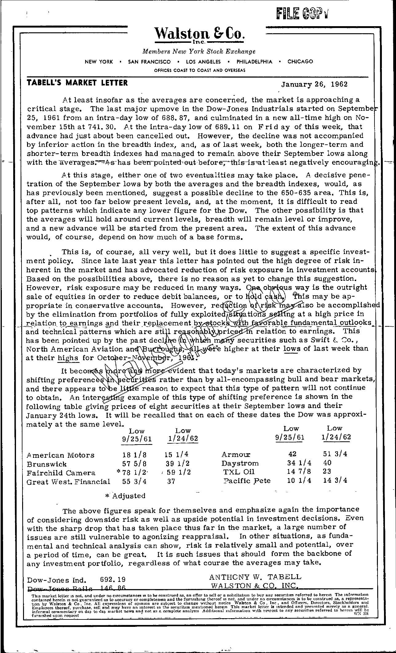 Tabell's Market Letter - January 26, 1962