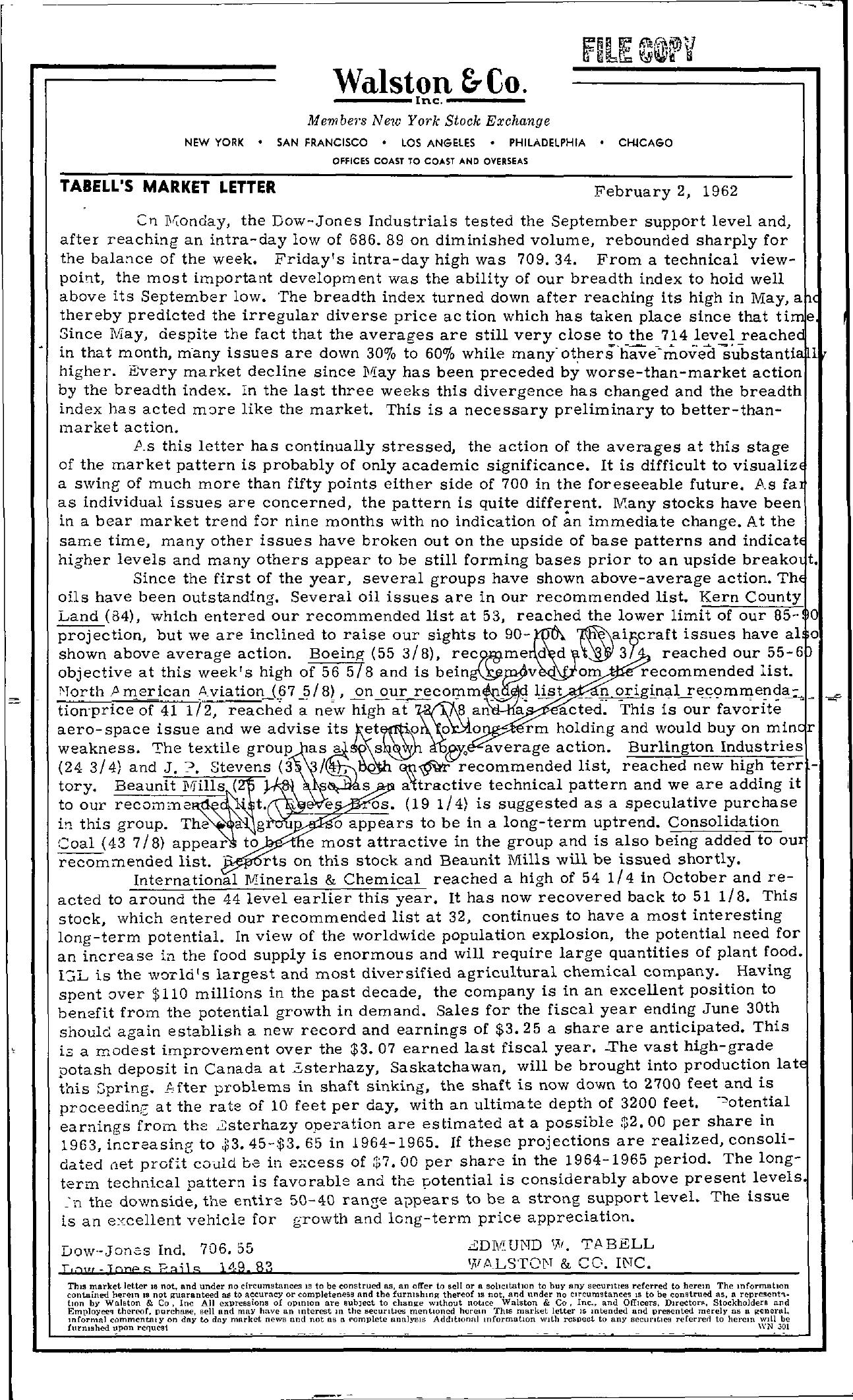 Tabell's Market Letter - February 02, 1962