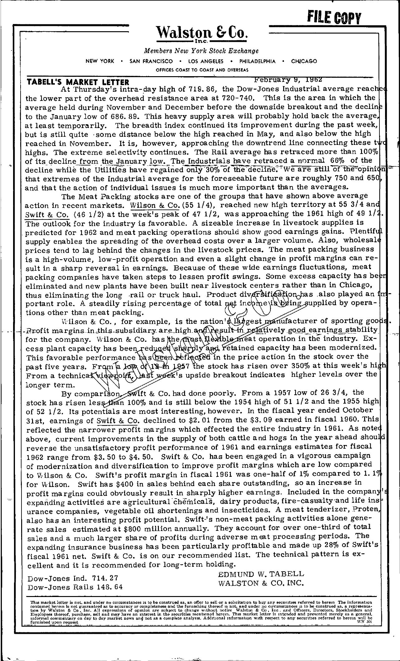 Tabell's Market Letter - February 09, 1962