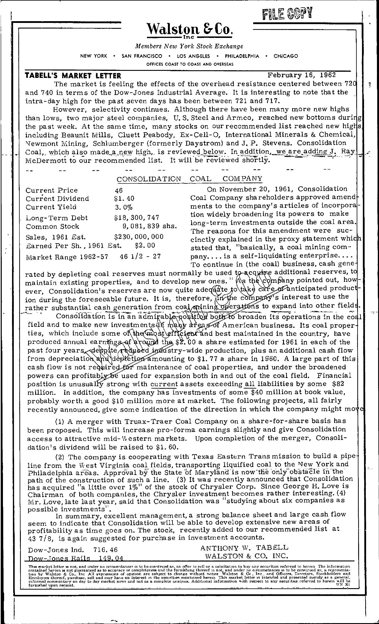 Tabell's Market Letter - February 16, 1962