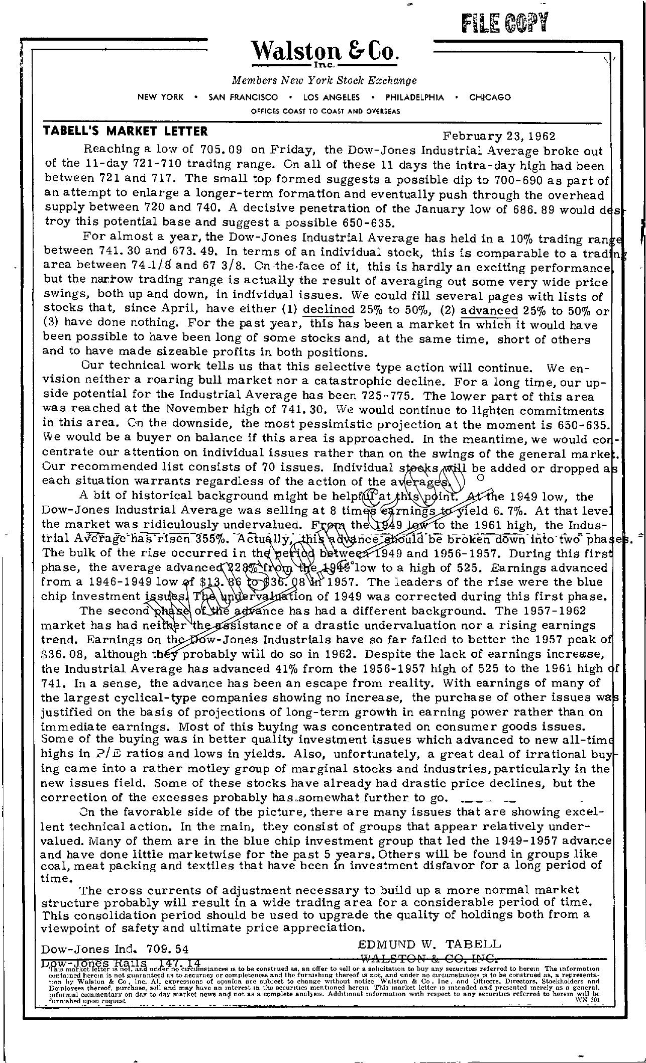 Tabell's Market Letter - February 23, 1962