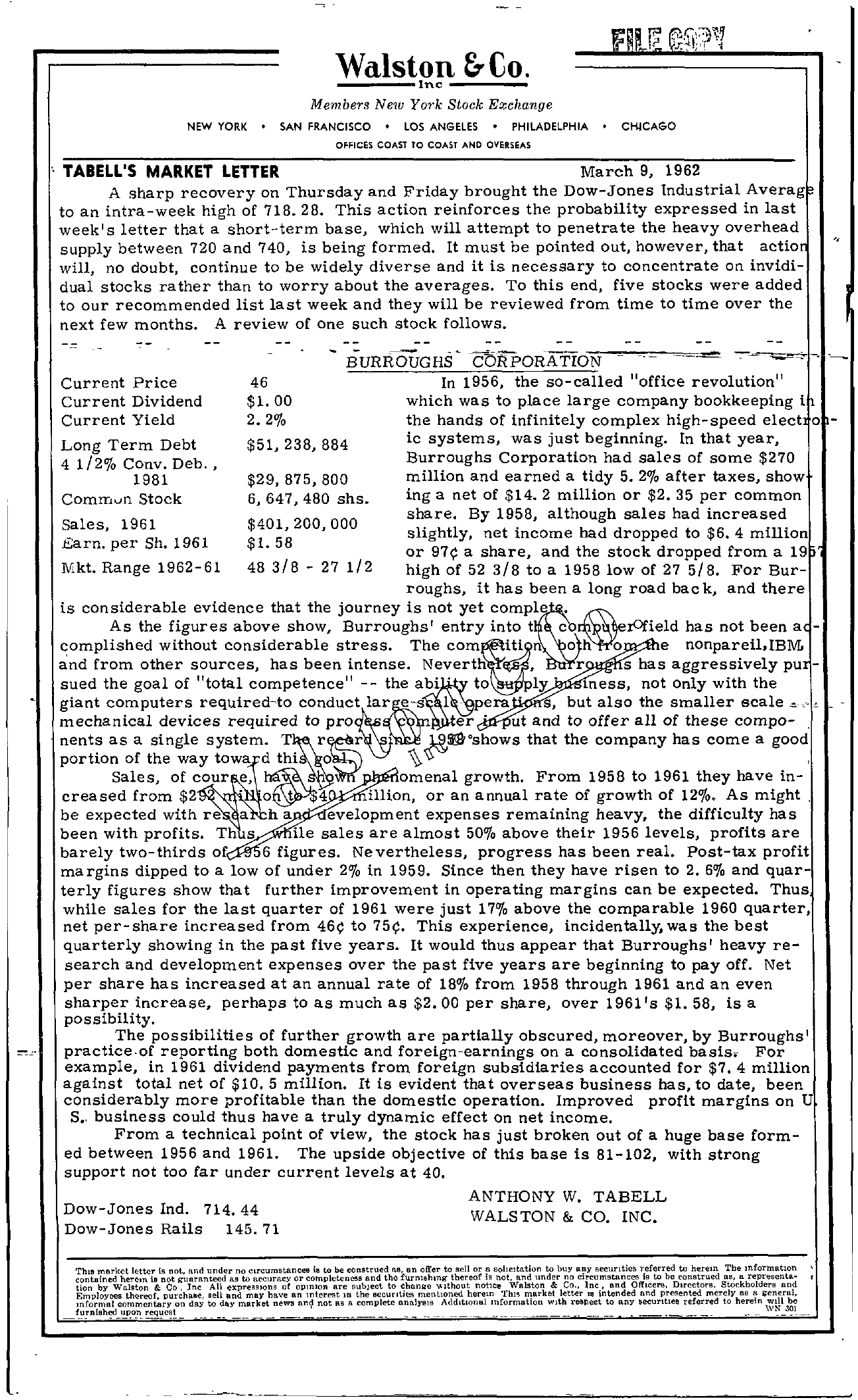 Tabell's Market Letter - March 09, 1962