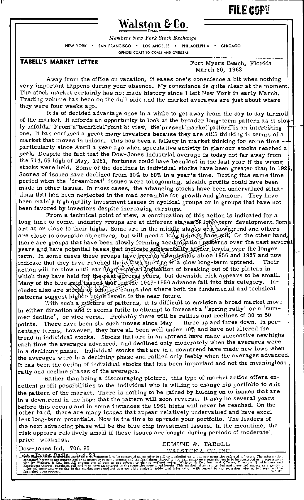 Tabell's Market Letter - March 30, 1962