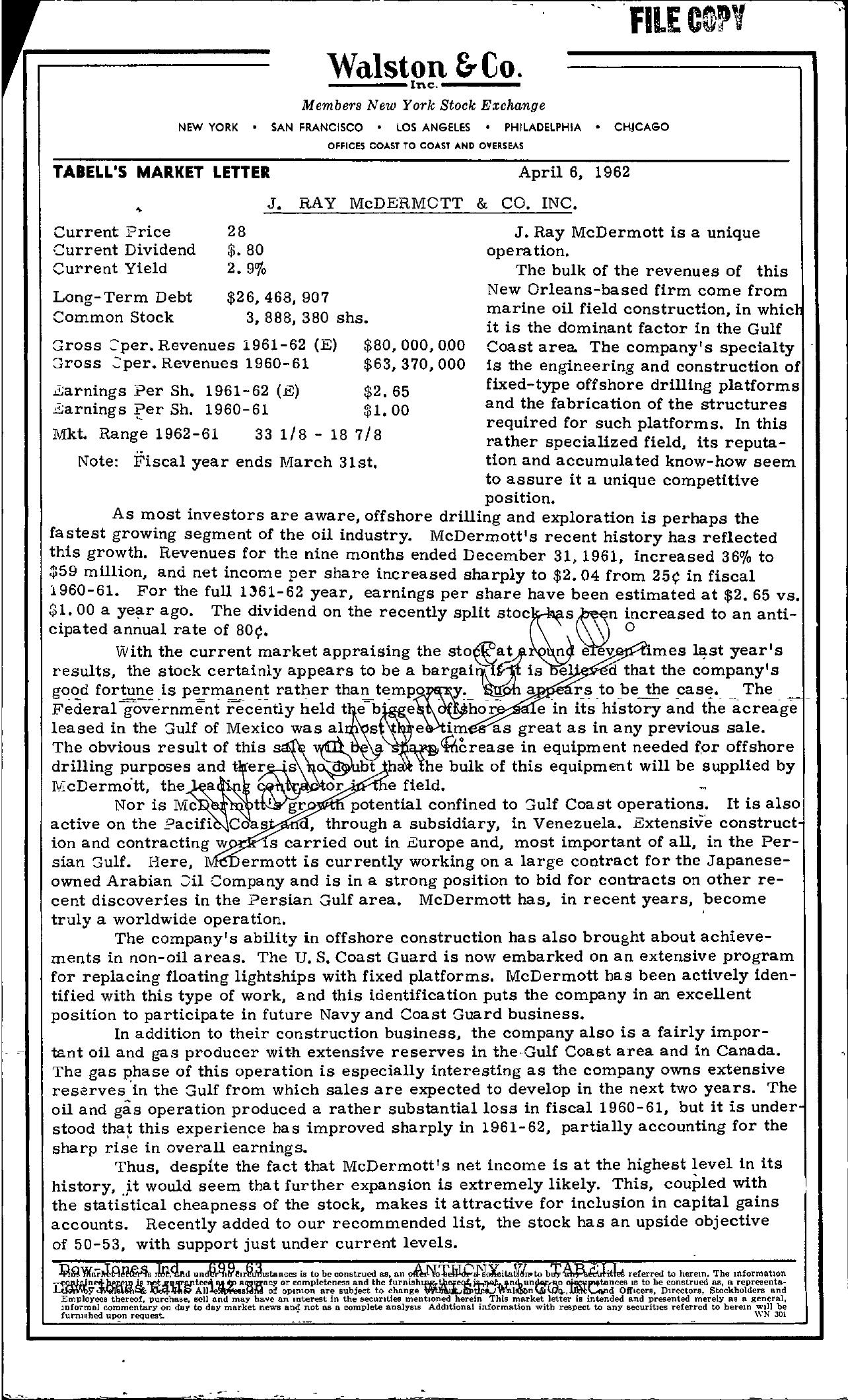 Tabell's Market Letter - April 06, 1962
