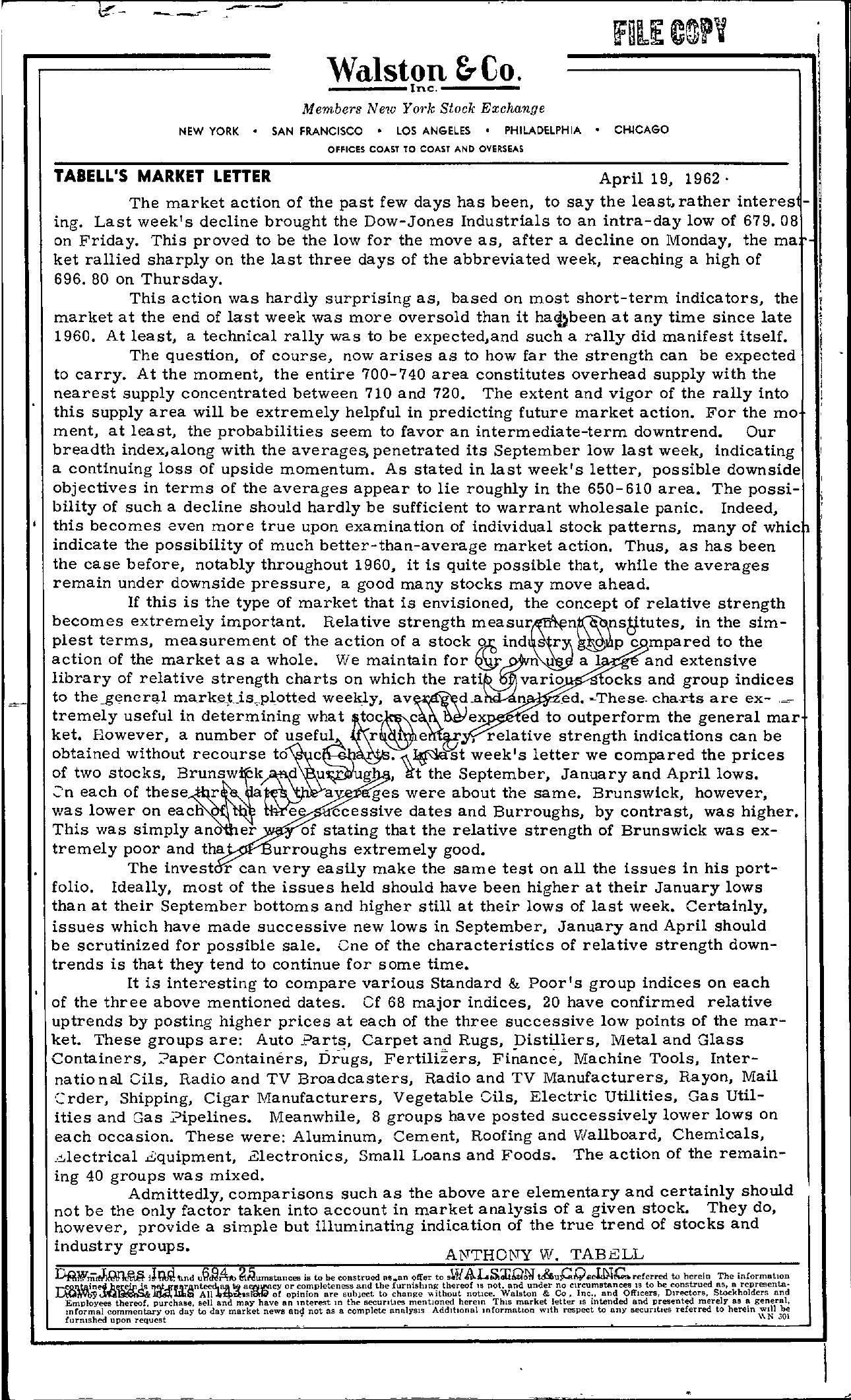 Tabell's Market Letter - April 19, 1962