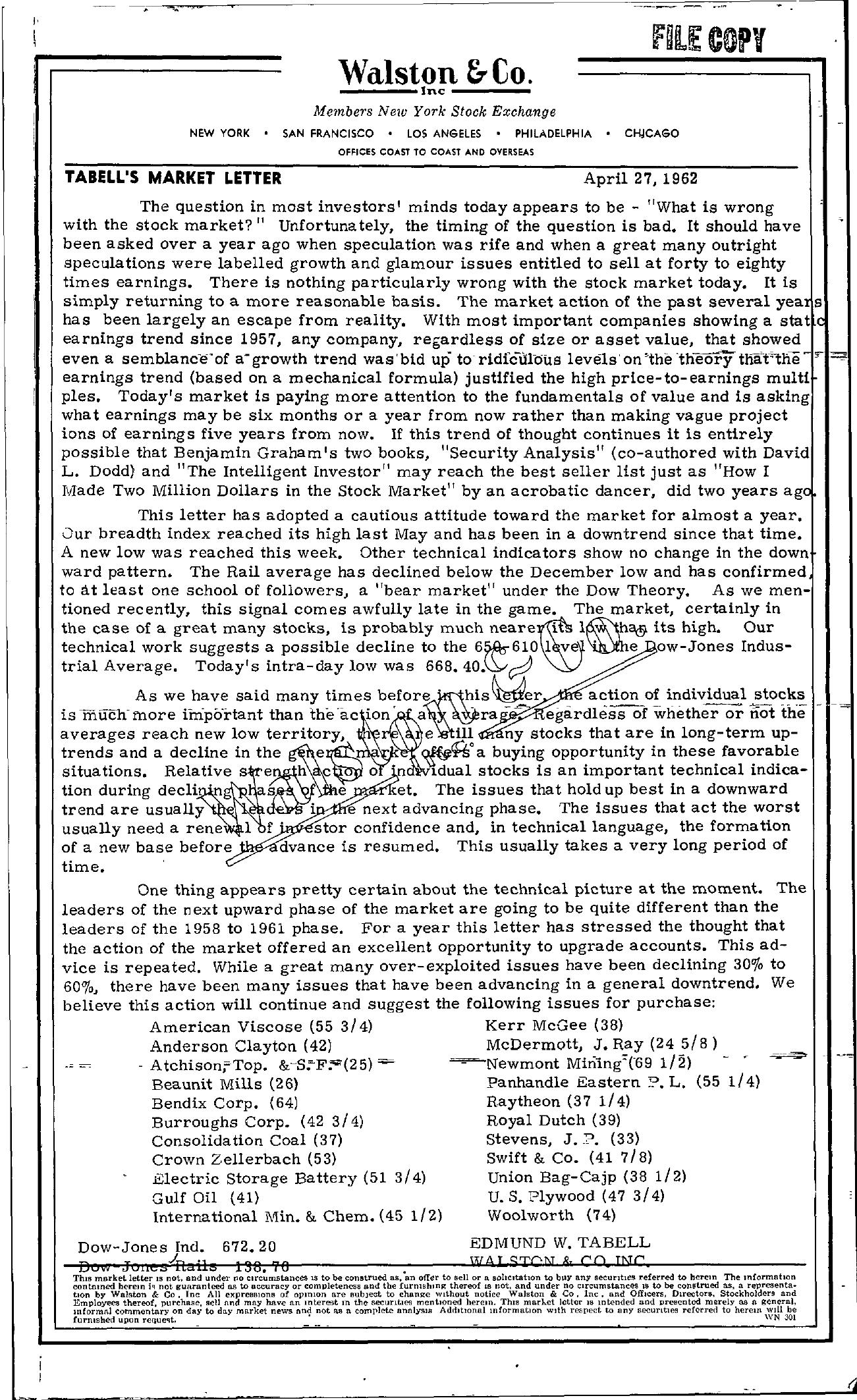 Tabell's Market Letter - April 27, 1962