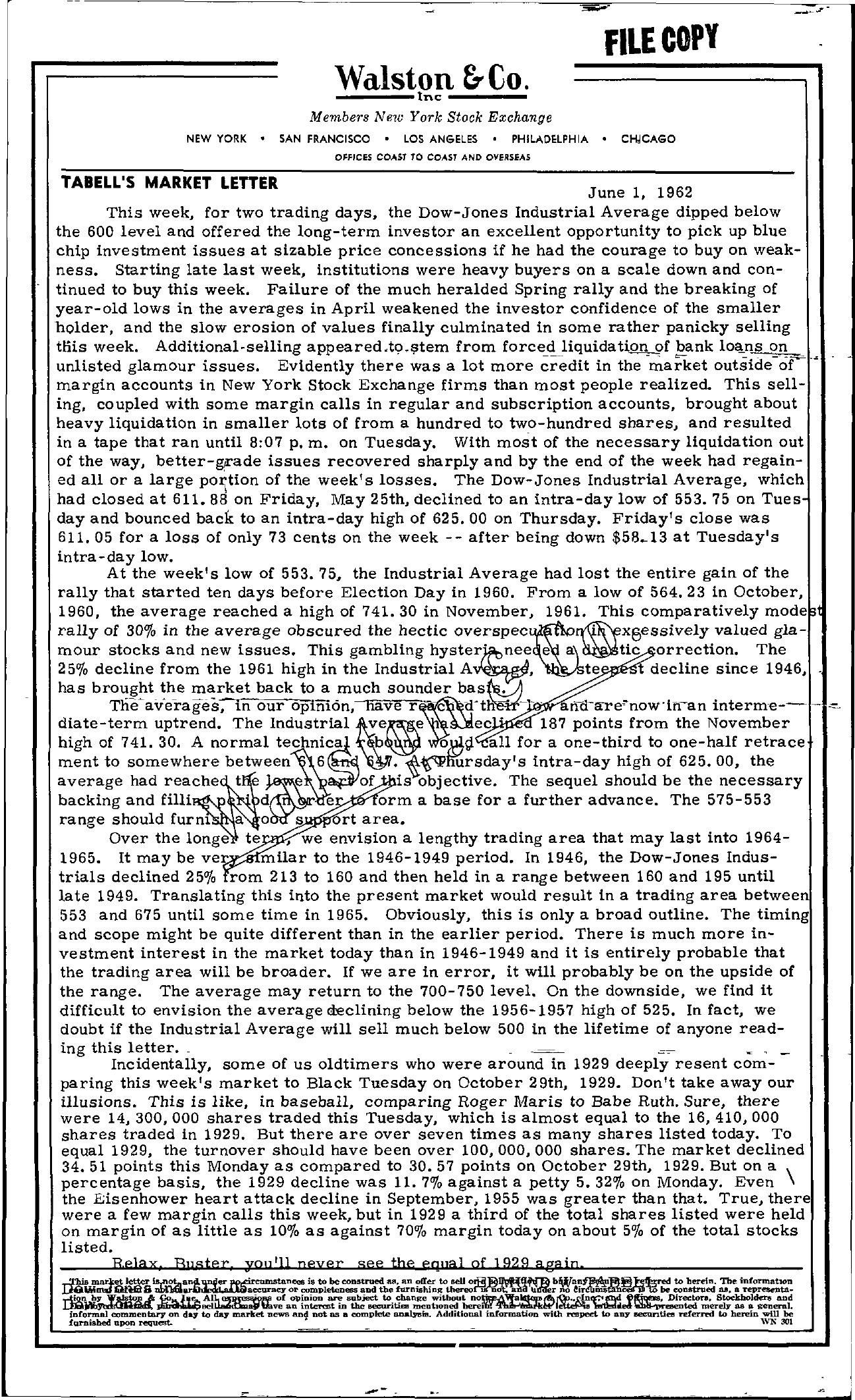 Tabell's Market Letter - June 01, 1962
