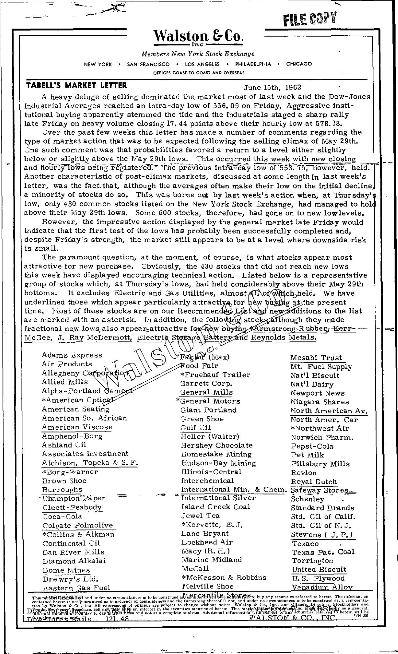 Tabell's Market Letter - June 15, 1962