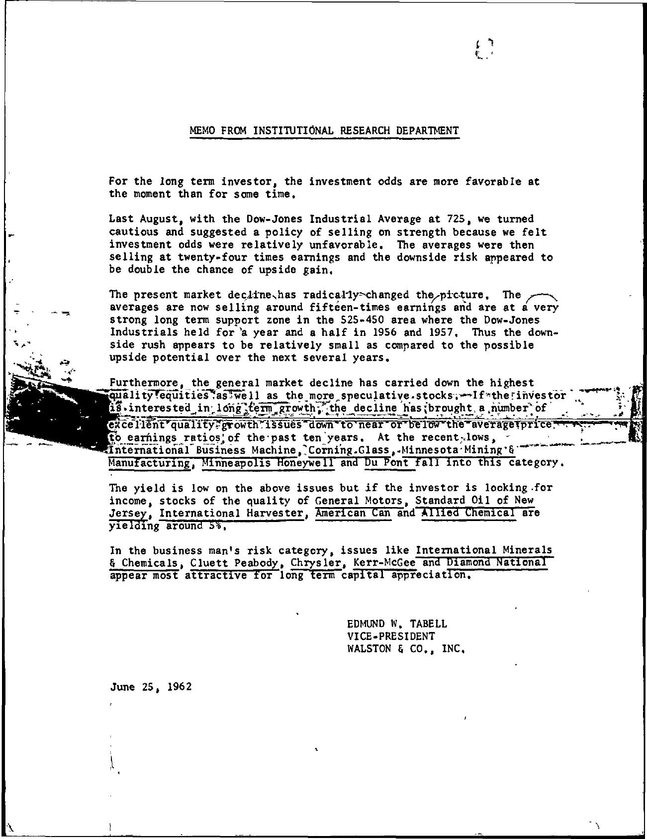 Tabell's Market Letter - June 25, 1962