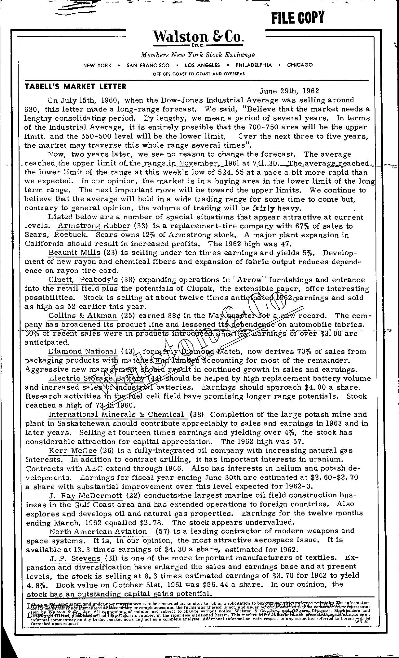 Tabell's Market Letter - June 29, 1962