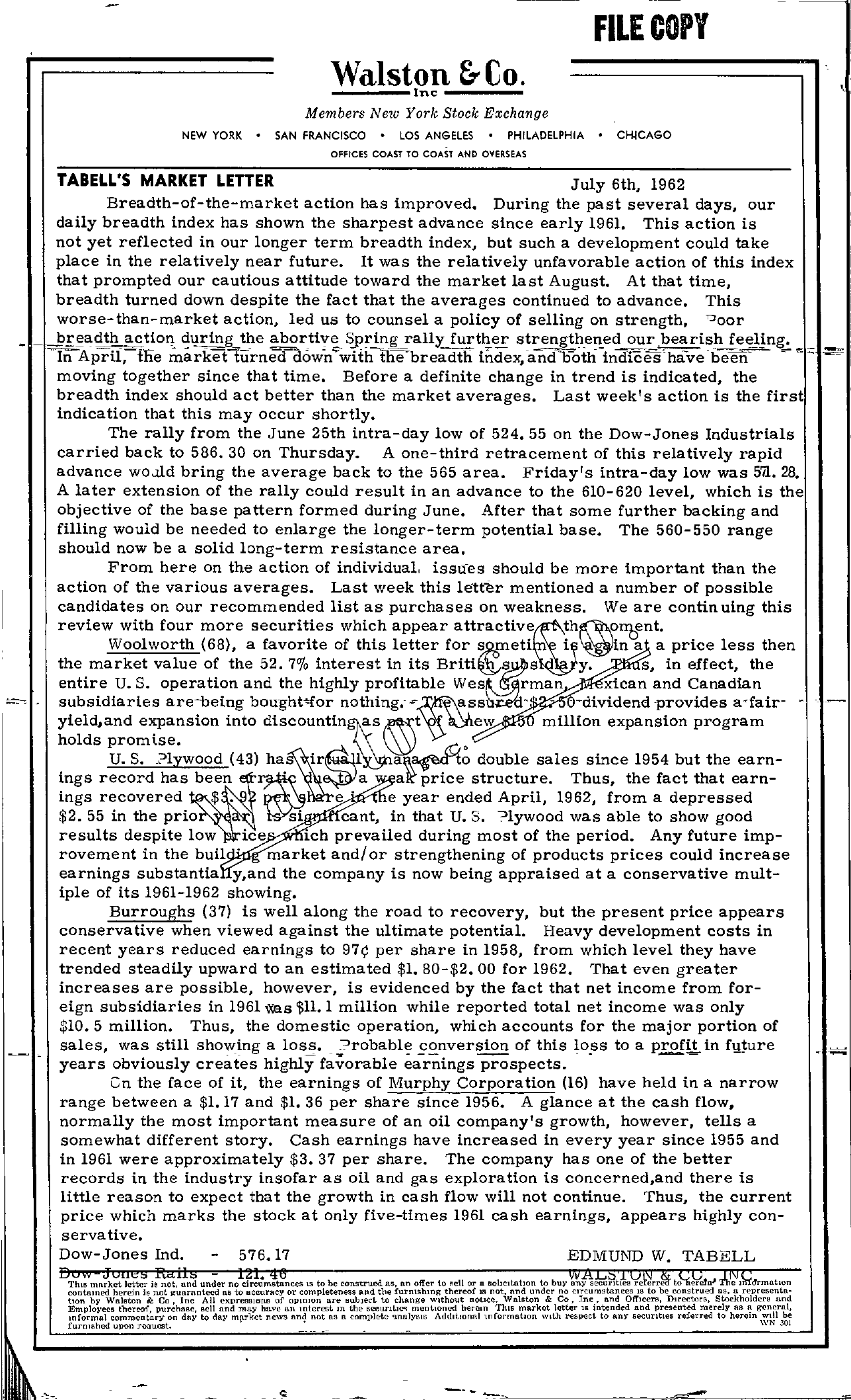 Tabell's Market Letter - July 06, 1962