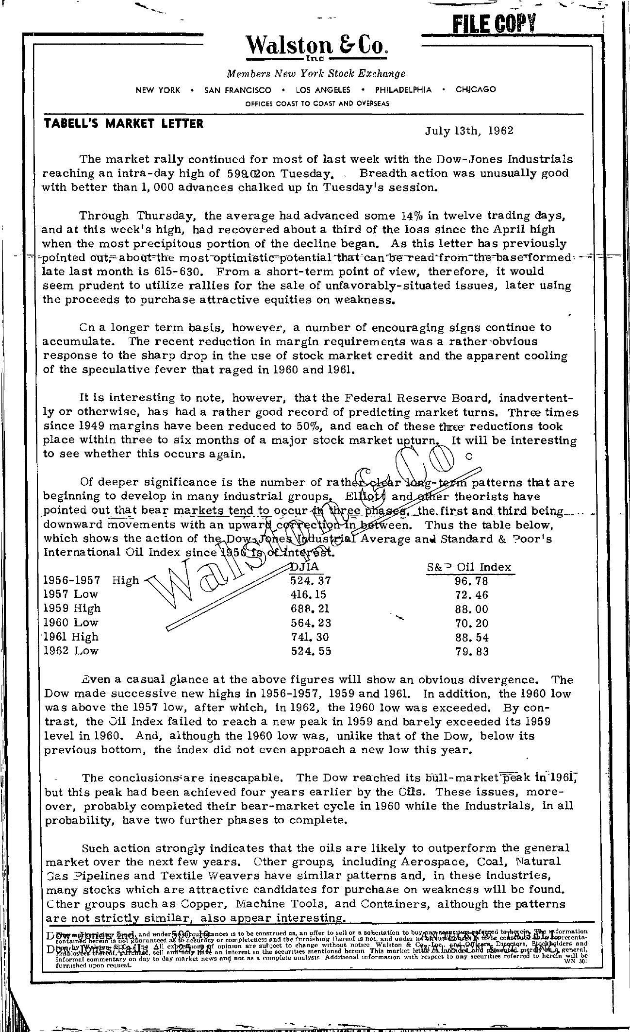 Tabell's Market Letter - July 13, 1962