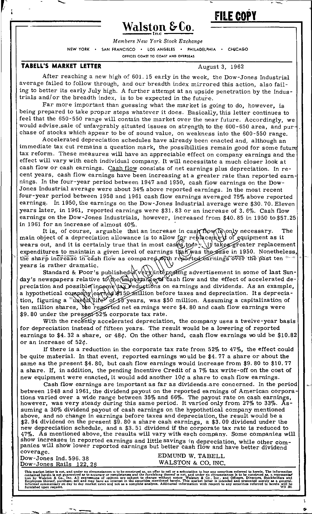 Tabell's Market Letter - August 03, 1962