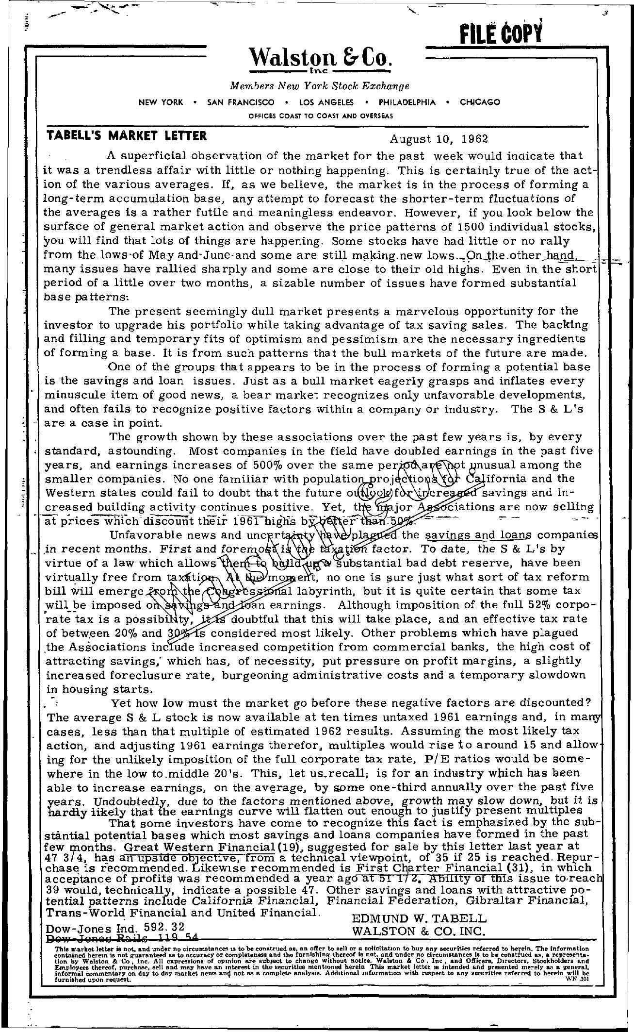 Tabell's Market Letter - August 10, 1962