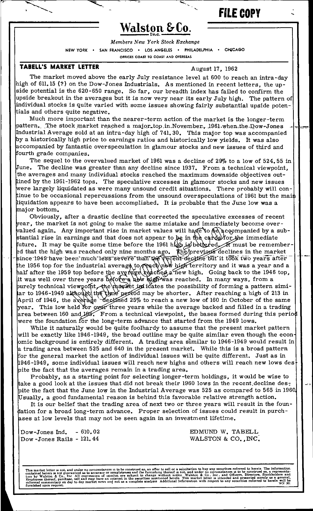 Tabell's Market Letter - August 17, 1962