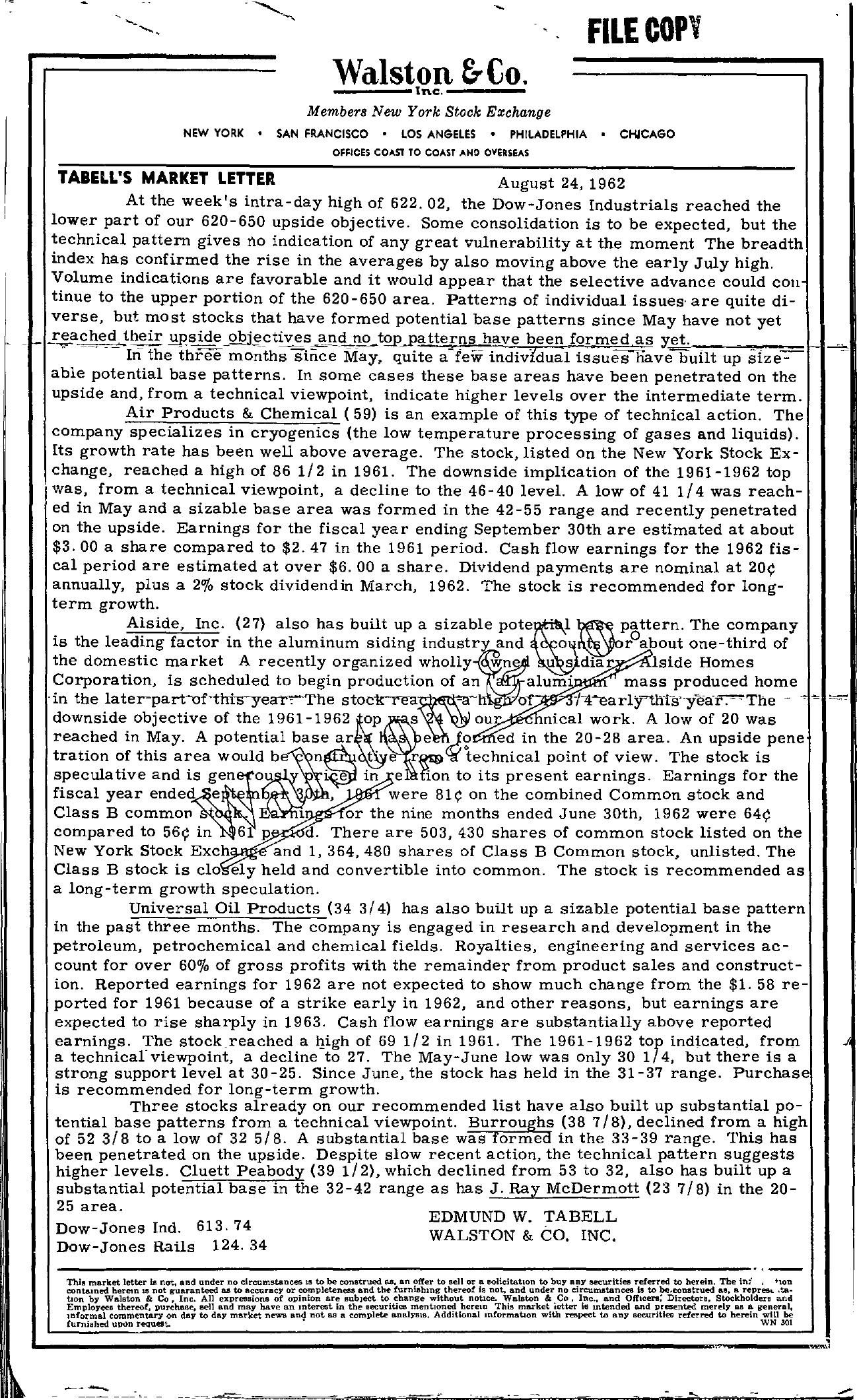 Tabell's Market Letter - August 24, 1962