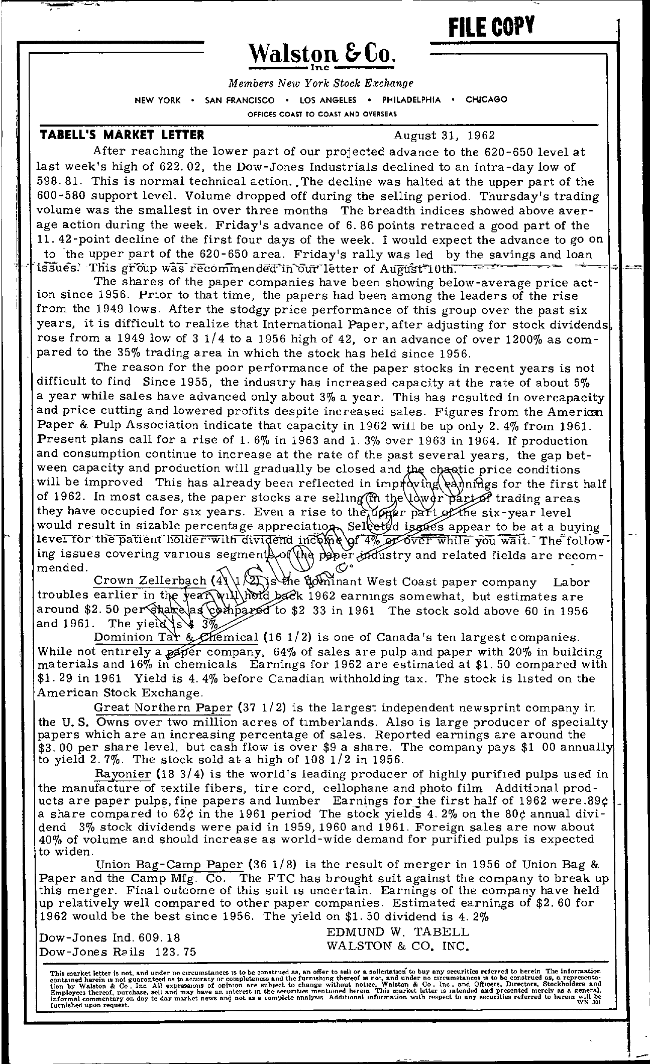Tabell's Market Letter - August 31, 1962