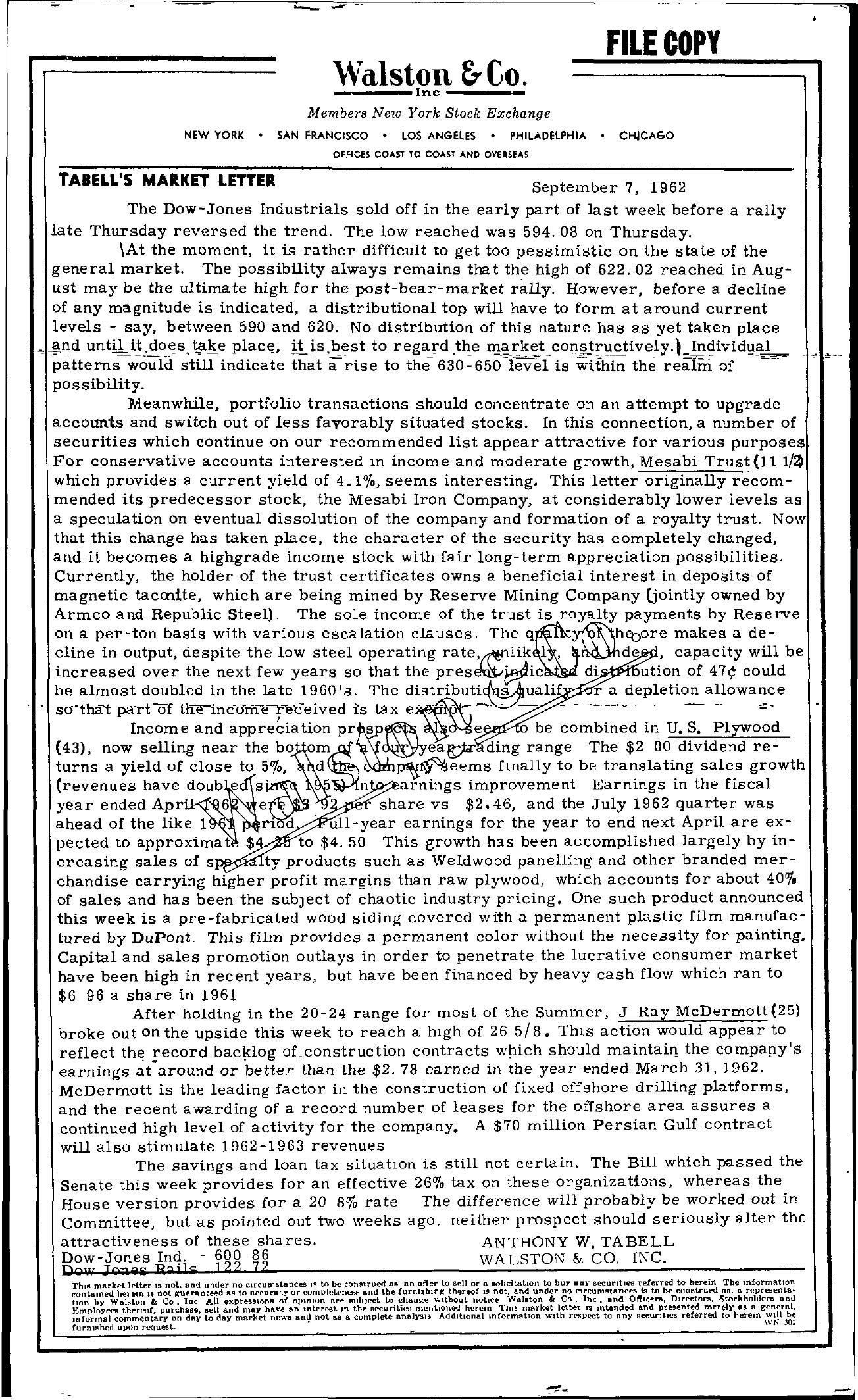 Tabell's Market Letter - September 07, 1962