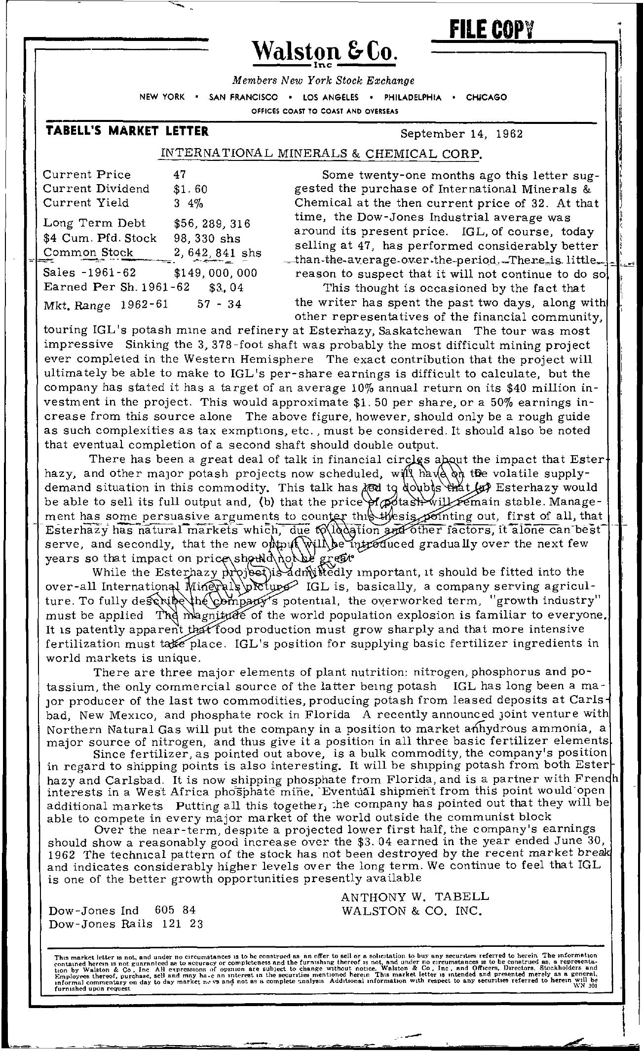 Tabell's Market Letter - September 14, 1962