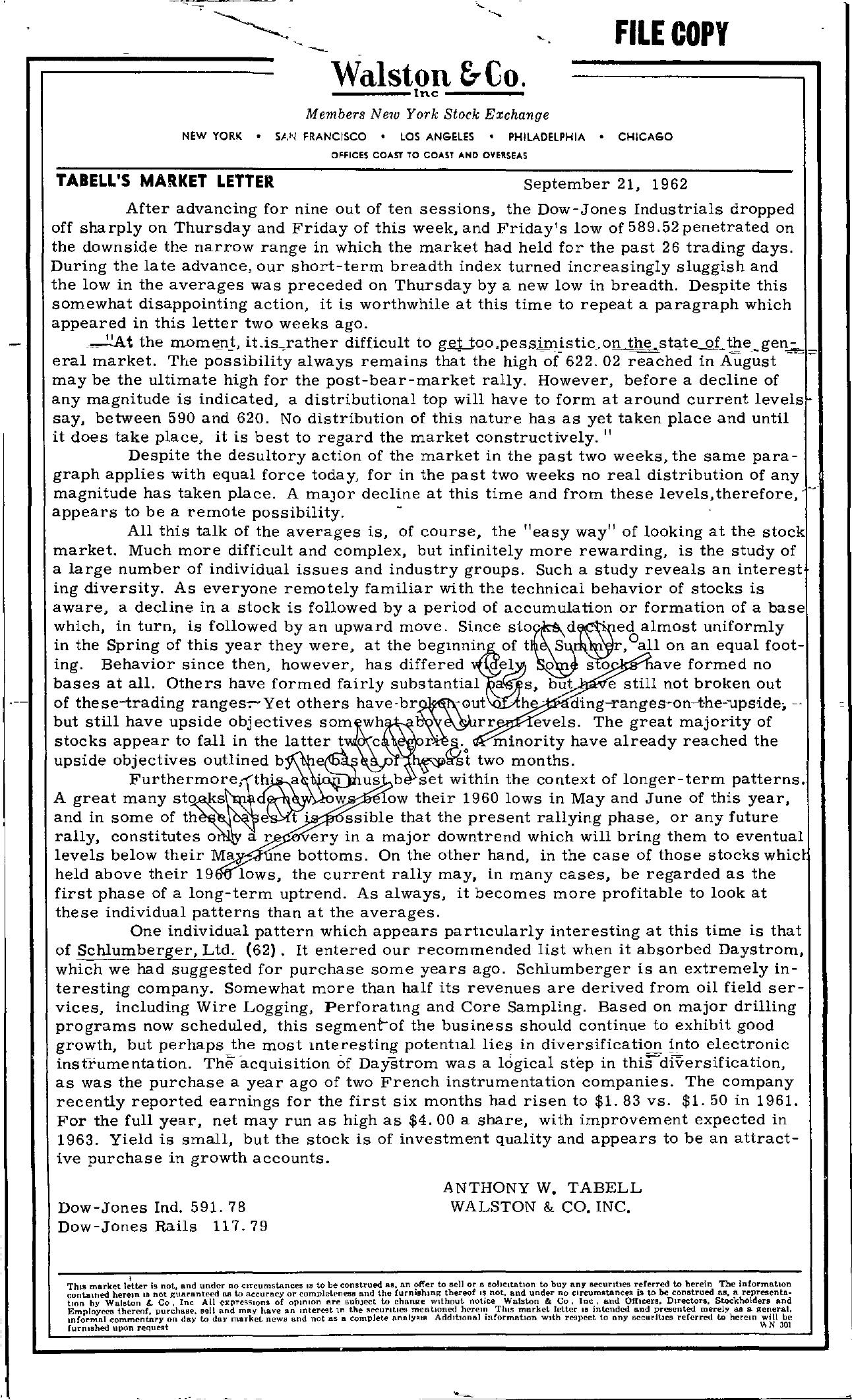 Tabell's Market Letter - September 21, 1962