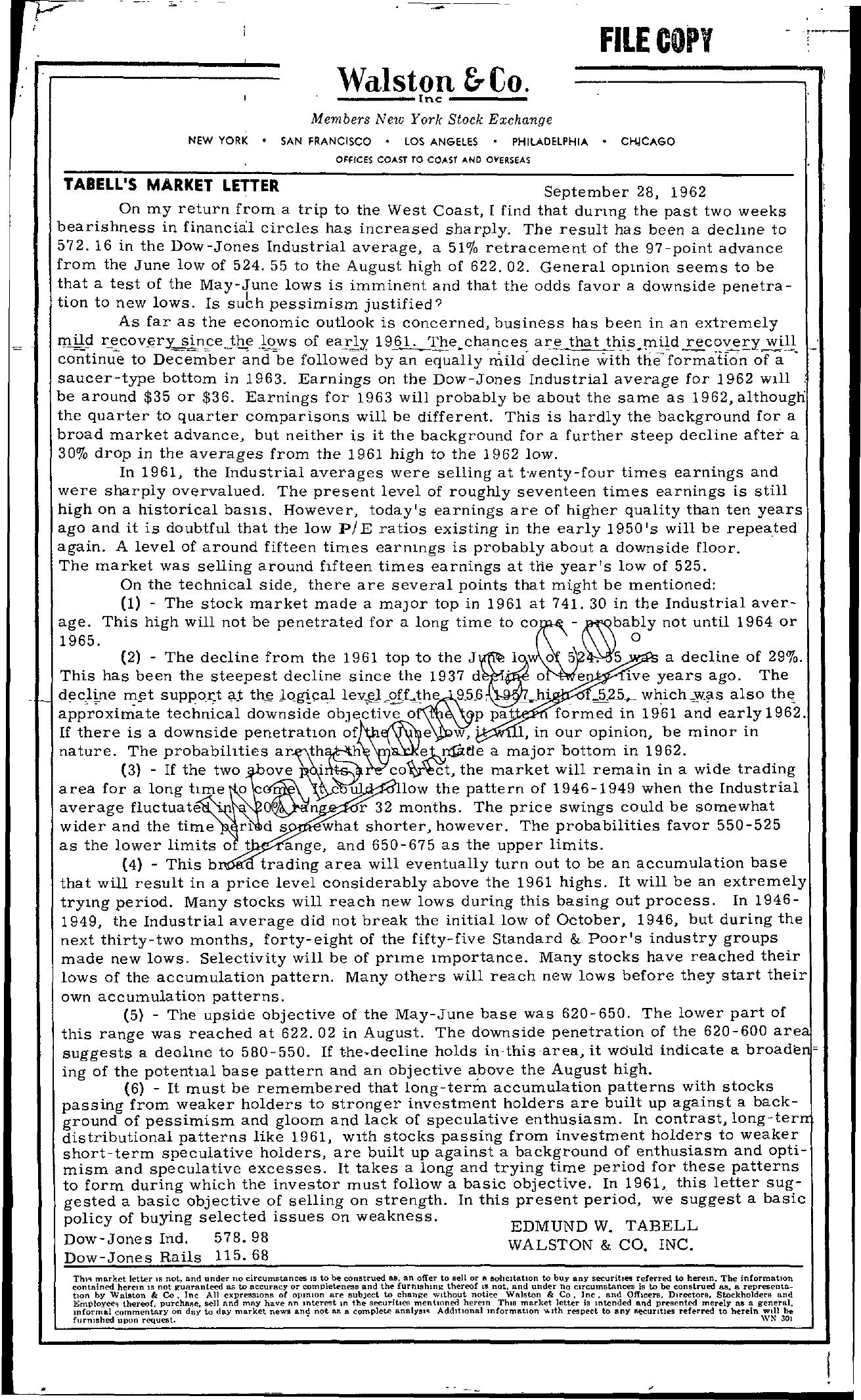 Tabell's Market Letter - September 28, 1962