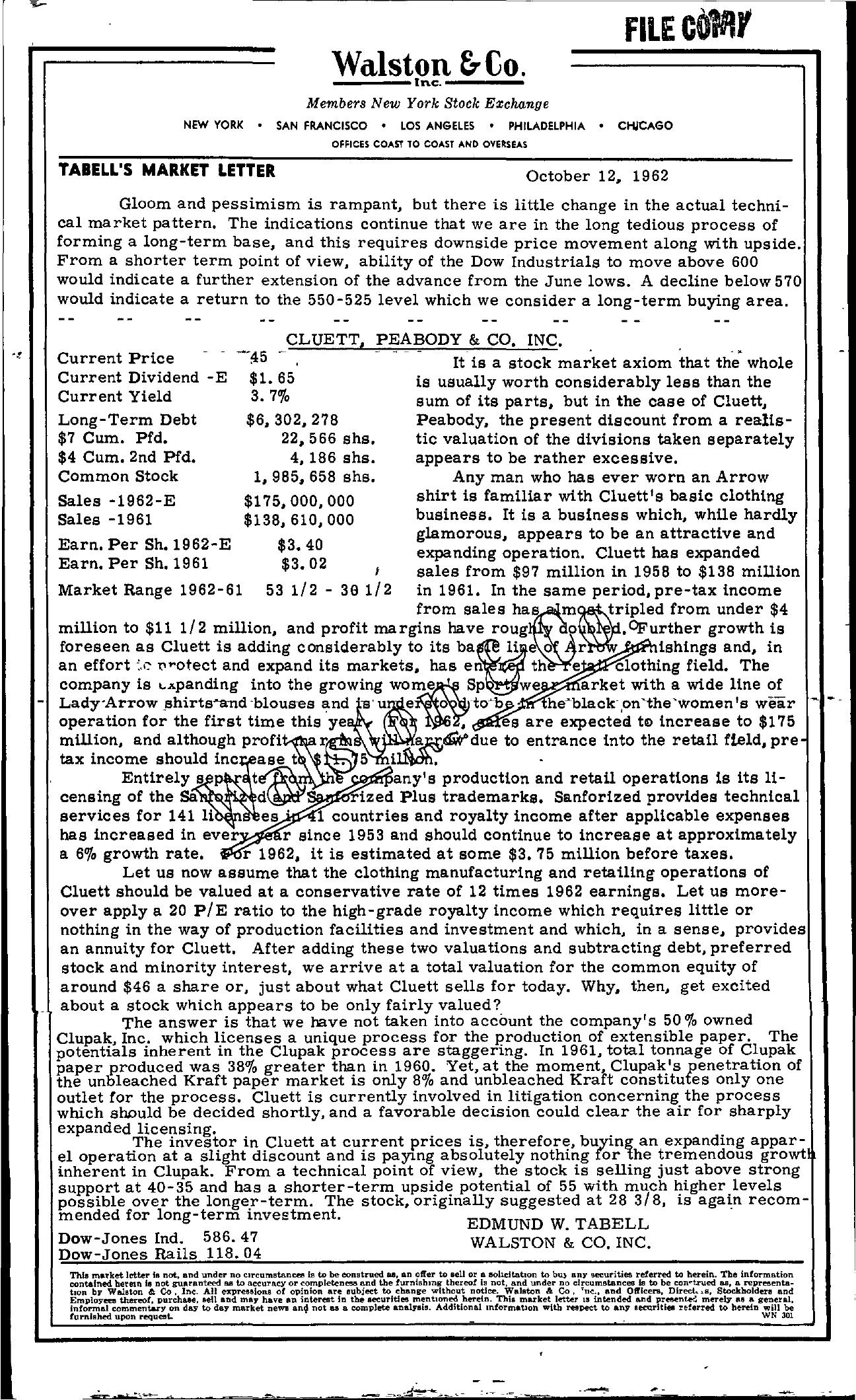 Tabell's Market Letter - October 12, 1962