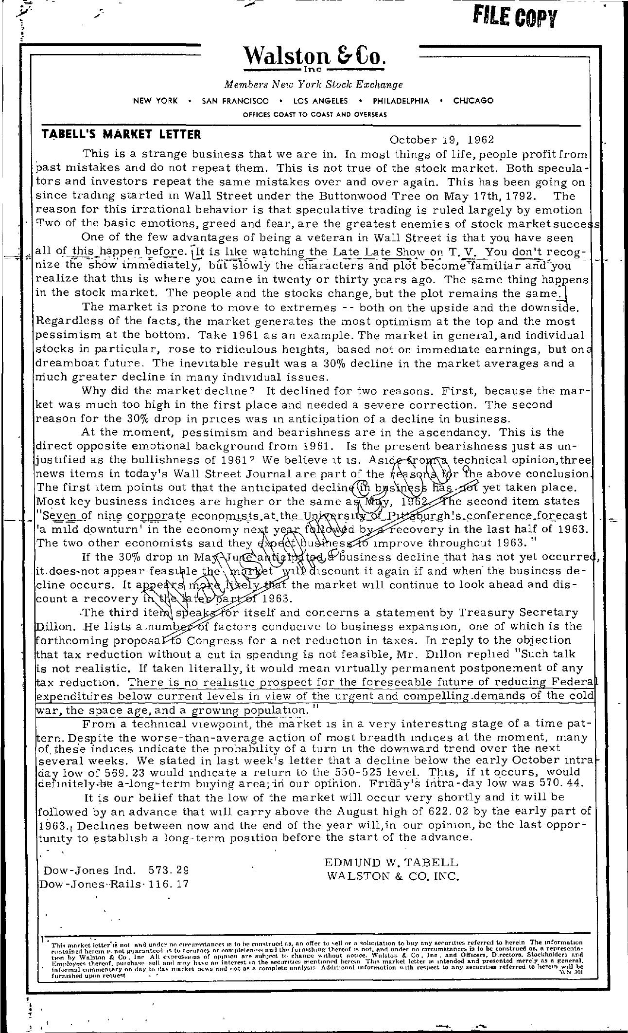 Tabell's Market Letter - October 19, 1962