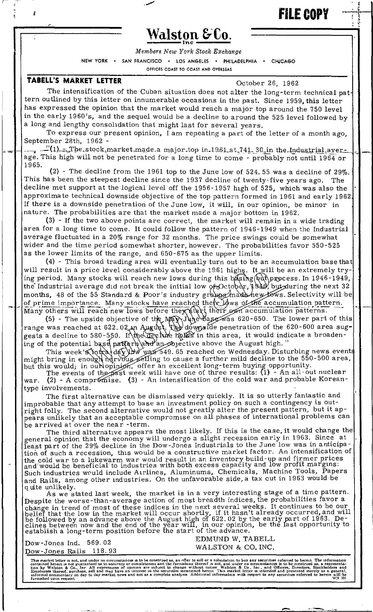 Tabell's Market Letter - October 26, 1962