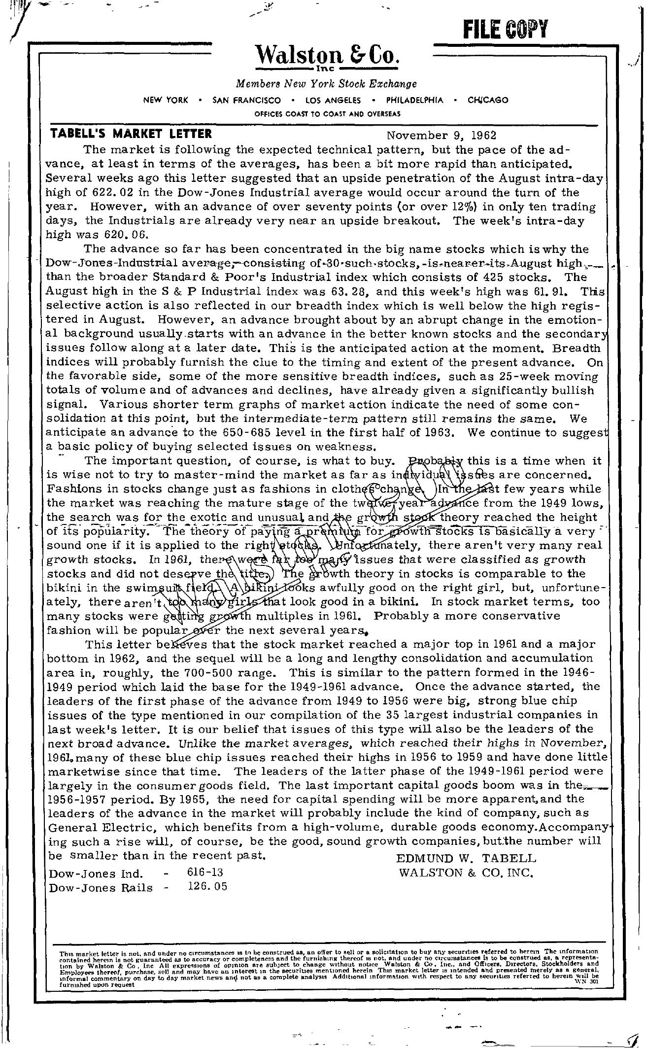 Tabell's Market Letter - November 09, 1962