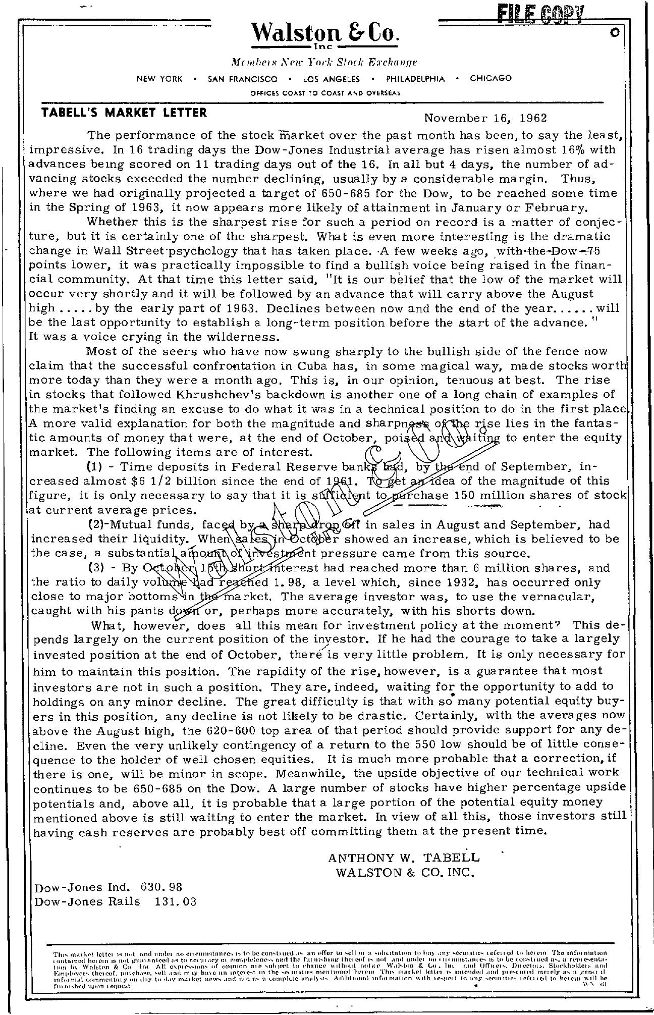 Tabell's Market Letter - November 16, 1962