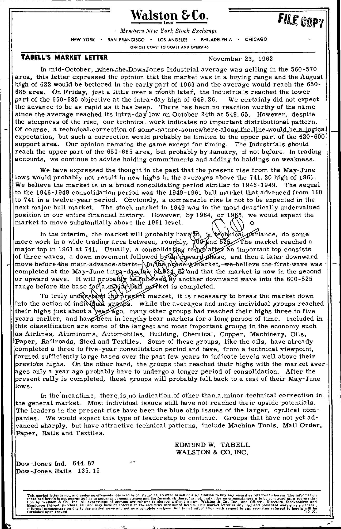 Tabell's Market Letter - November 23, 1962