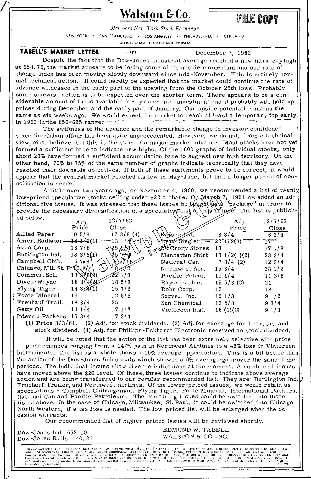 Tabell's Market Letter - December 07, 1962