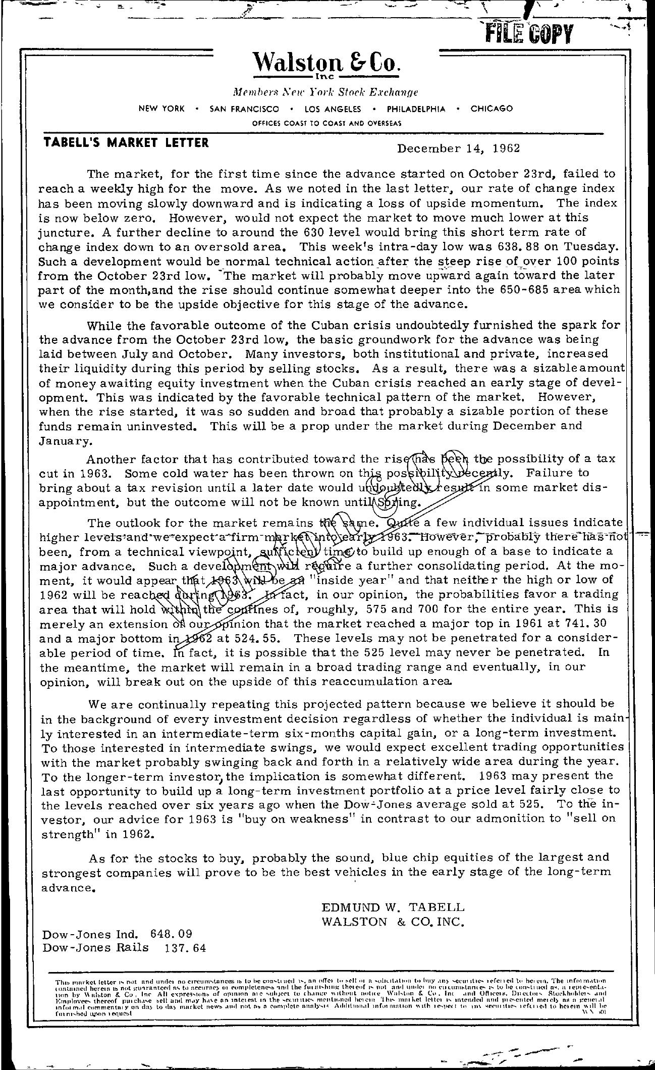 Tabell's Market Letter - December 14, 1962