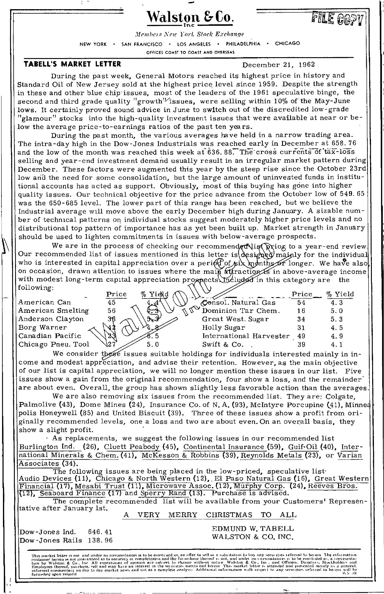 Tabell's Market Letter - December 21, 1962
