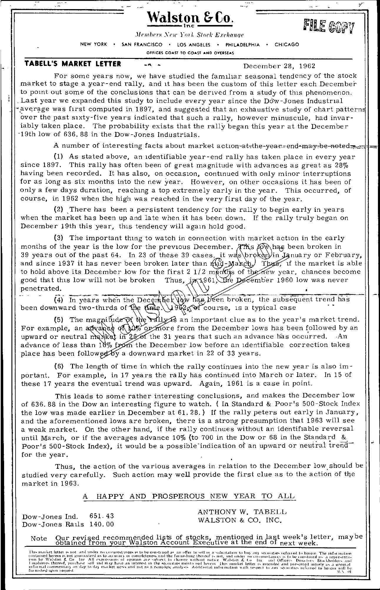 Tabell's Market Letter - December 28, 1962
