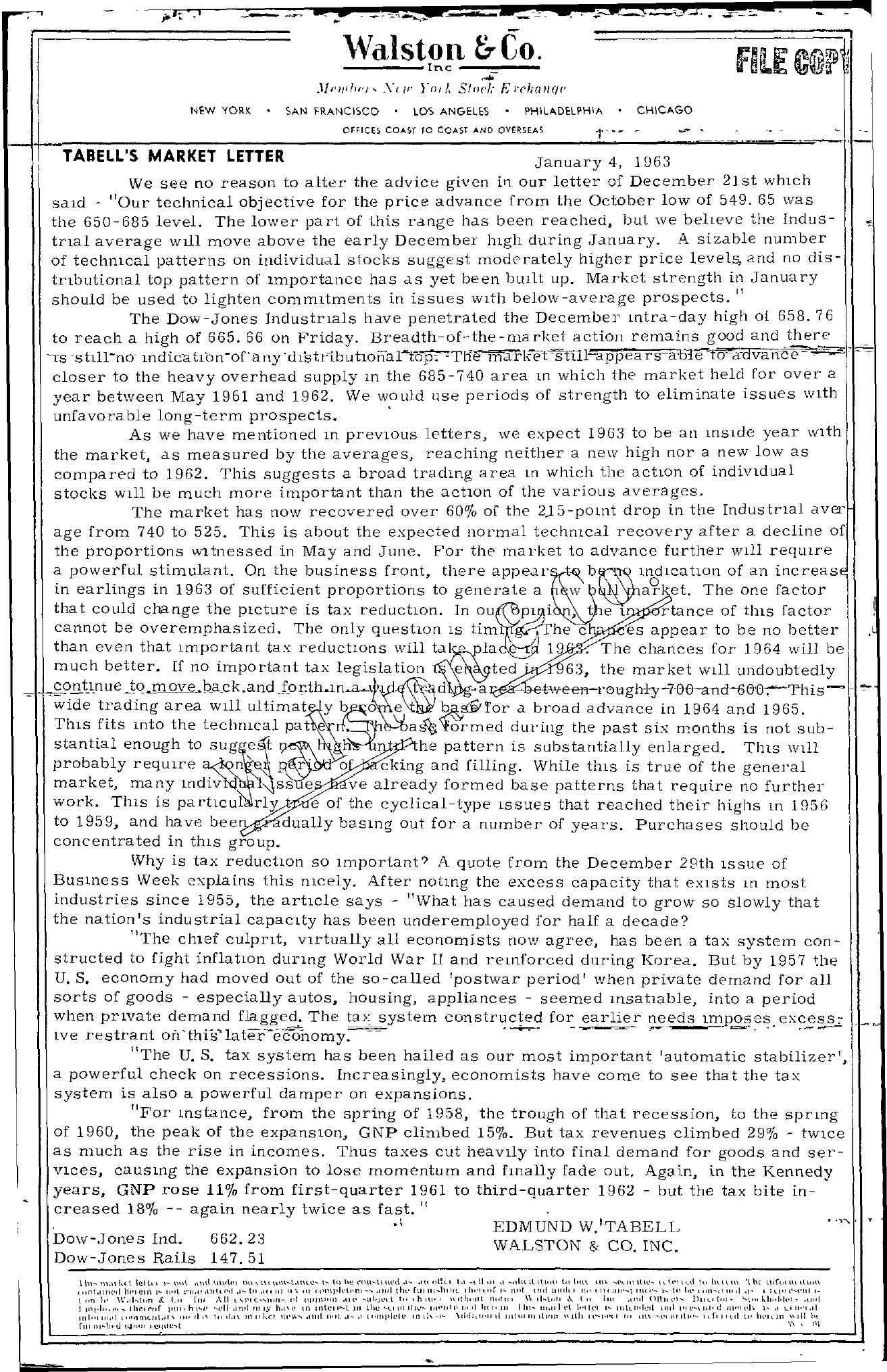 Tabell's Market Letter - January 04, 1963