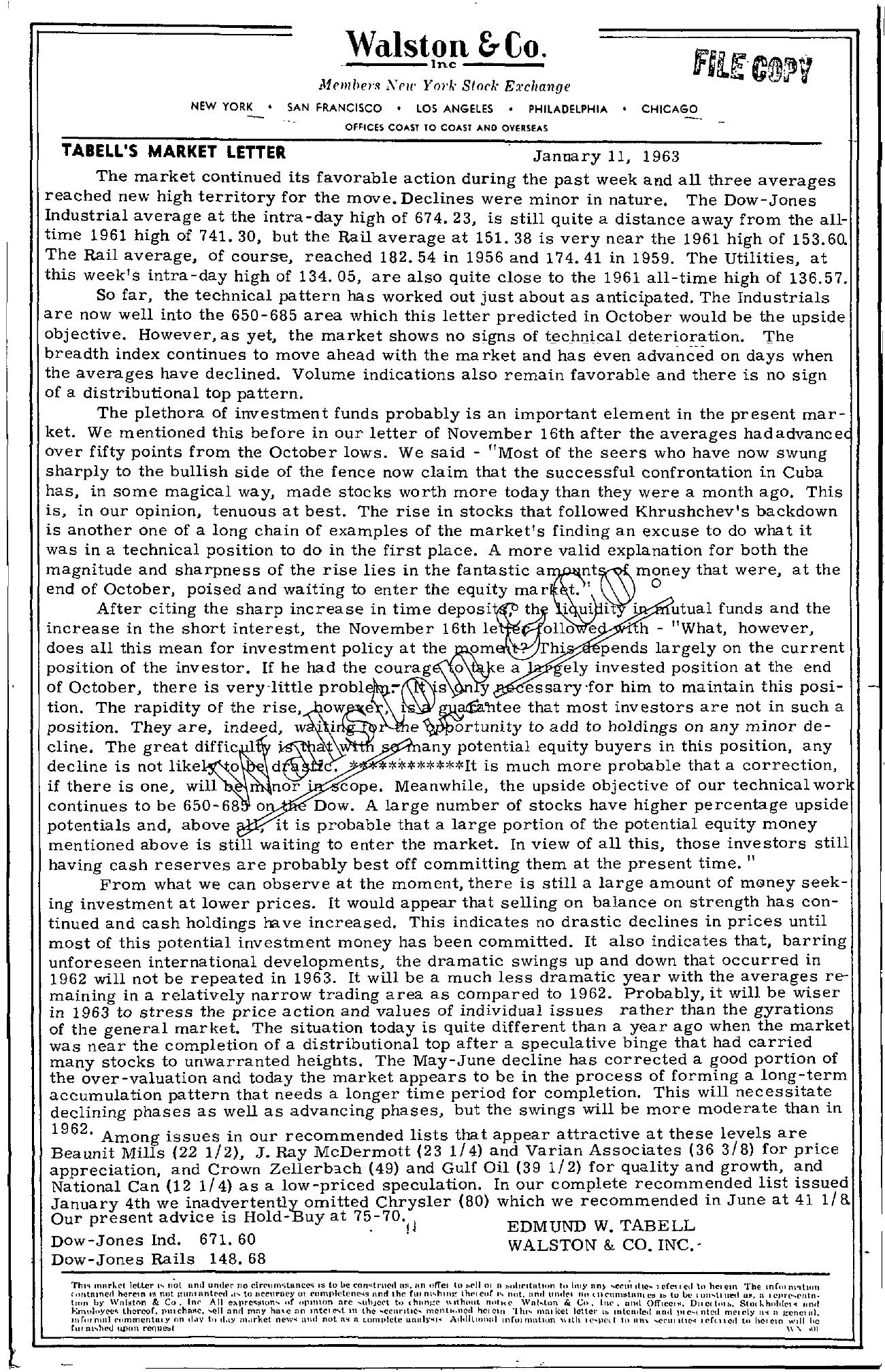Tabell's Market Letter - January 11, 1963